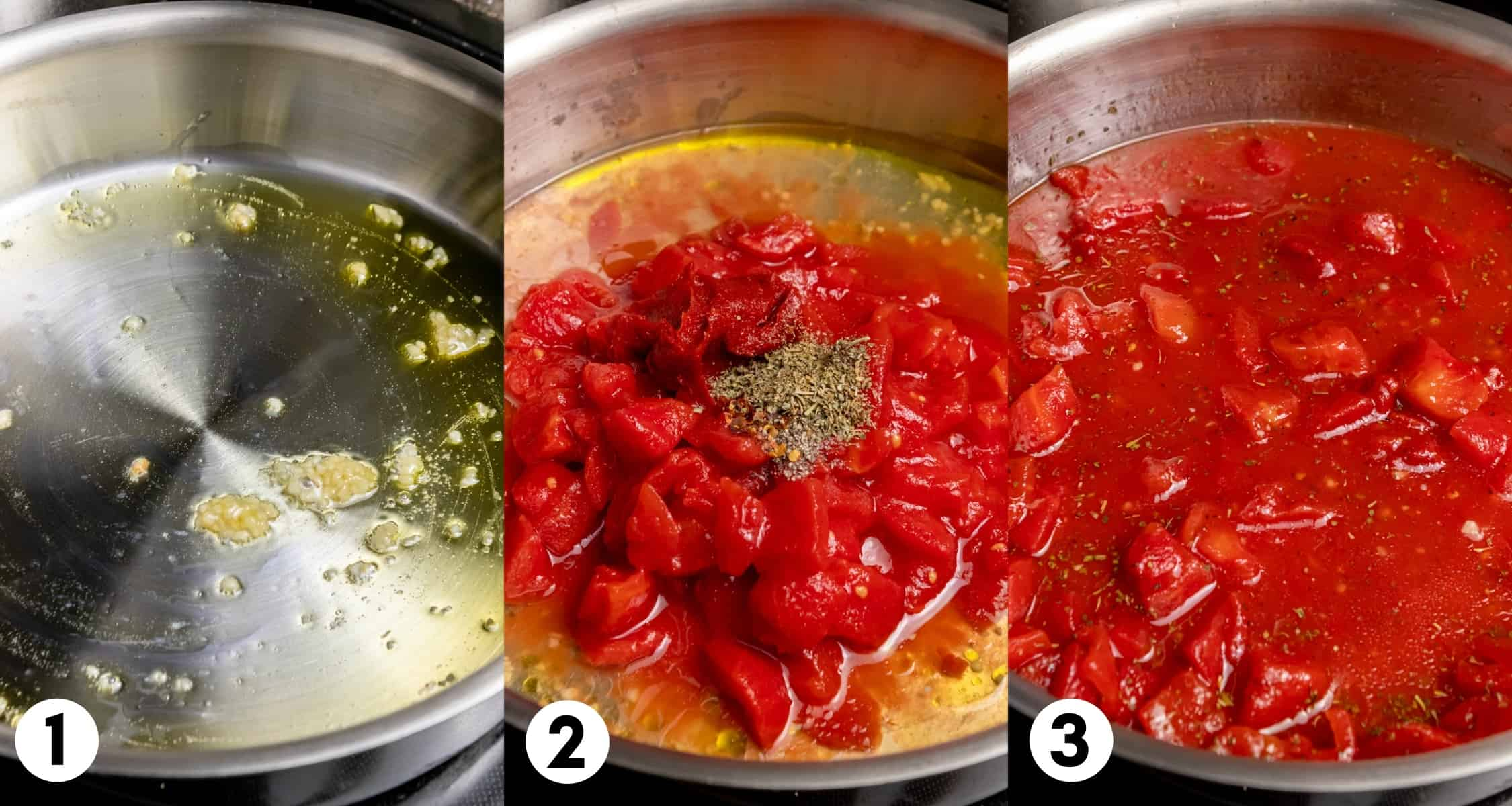 Garlic in olive oil and tomatoes with spices.