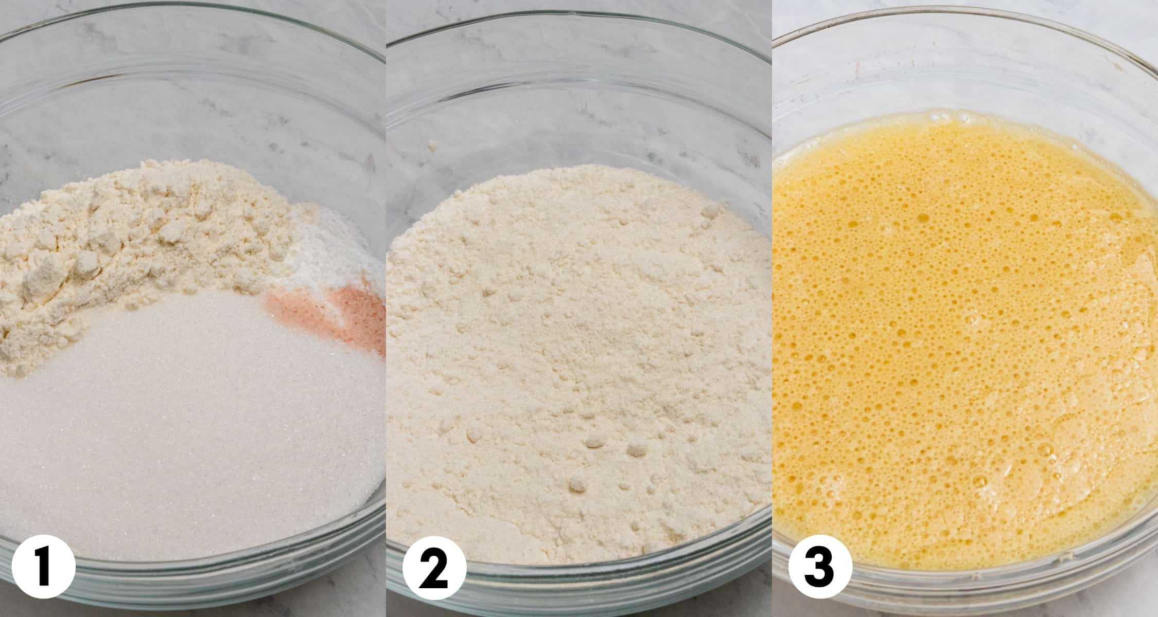 Flour and salt in mixing bowl and wet ingredients in a separate bowl.