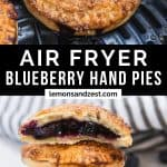 Blueberry hand pie in air fryer and then stacked on top of each other.