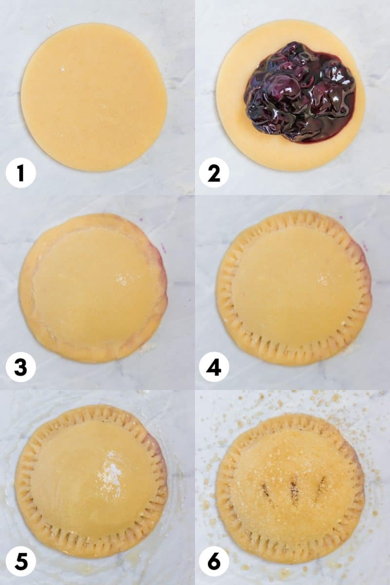 Steps to assemble blueberry hand pie.