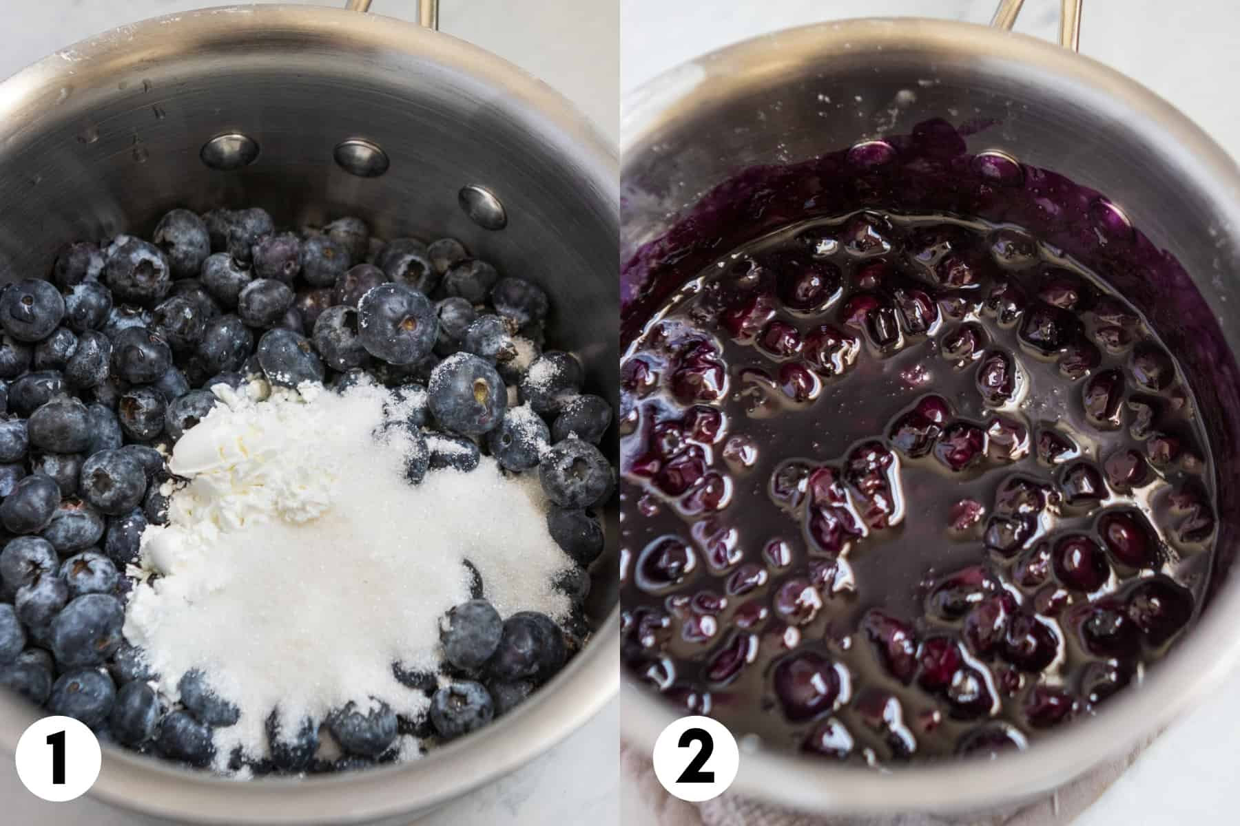 Sauce pan with fresh blueberries and sugar and then cooked pie filling.