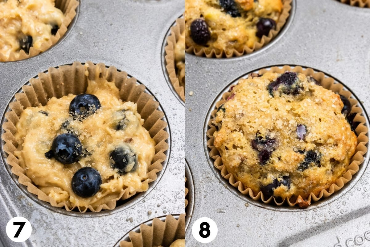 Blueberry banana Muffin batter in muffin pan and then baked.
