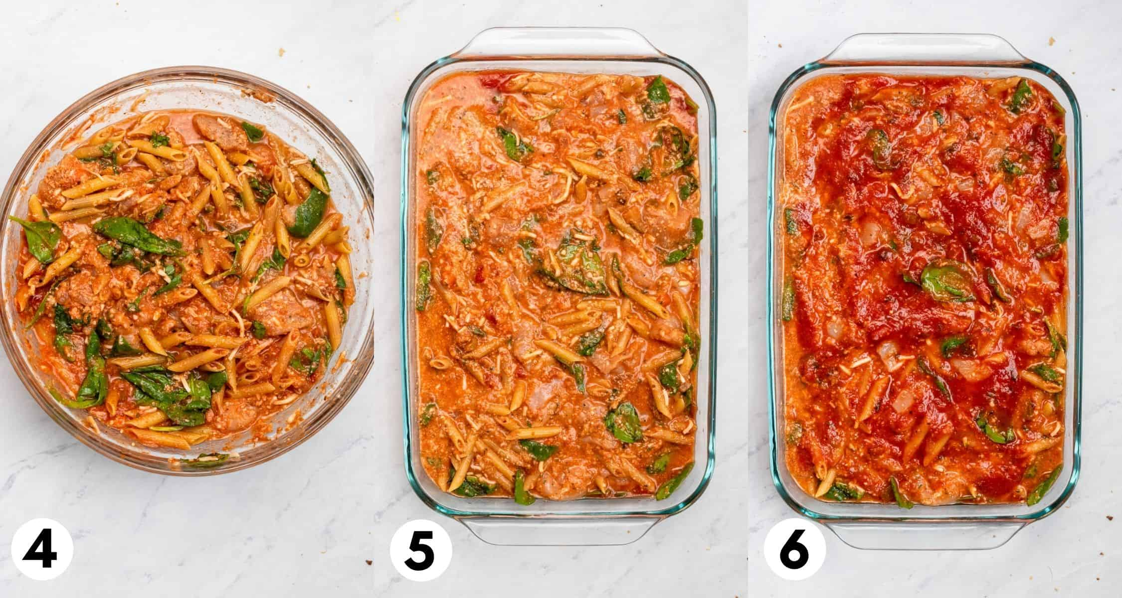 Chicken Parmesan casserole in mixing bowl and then in baking pan with extra sauce on top.