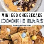 Cheesecake cookie bar batter with eggs and chocolate chips and then fully baked bars.