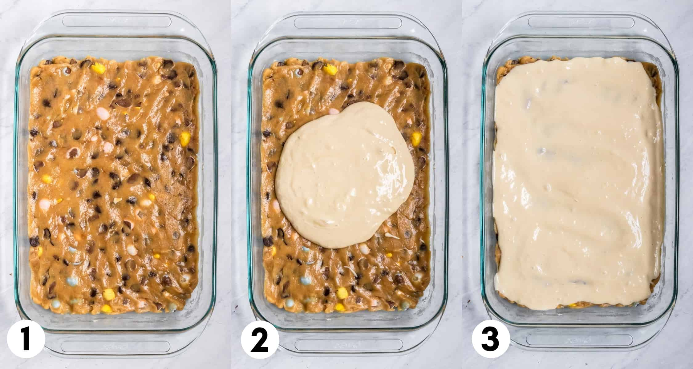 Mini egg cookie bar dough and cheesecake layer in baking pan.