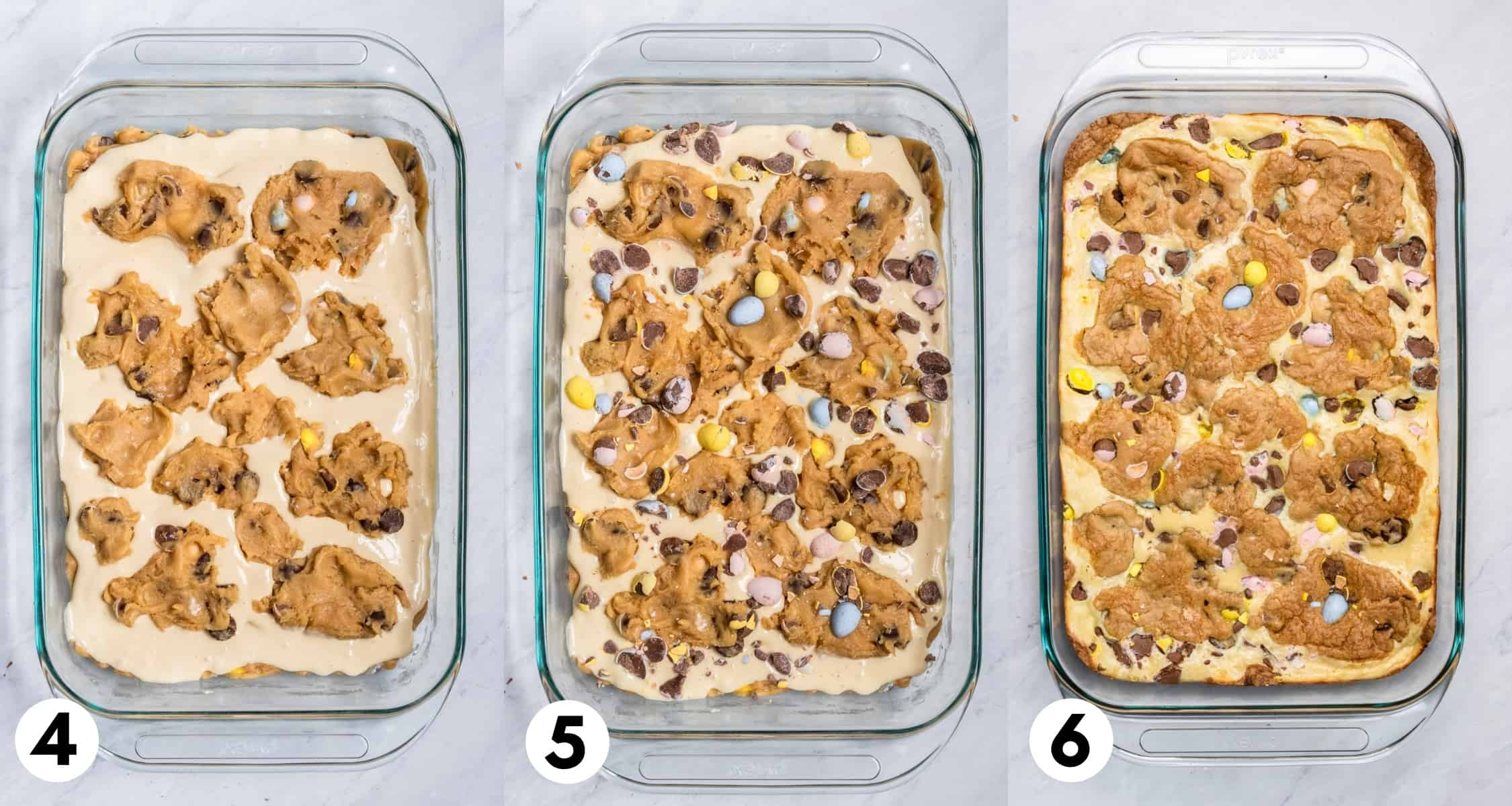 Cookie dough layer on top of cheesecake layer in baking pan and then fully baked.