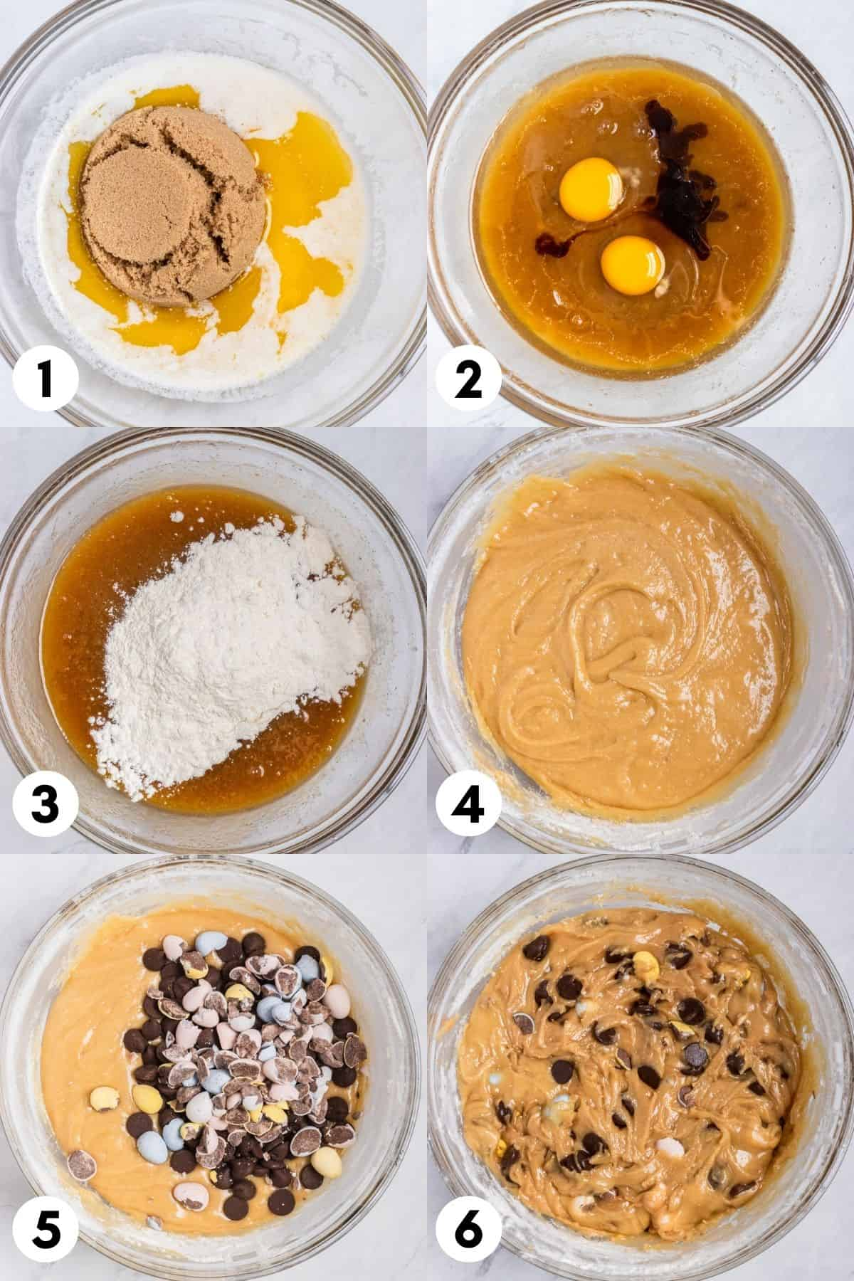 Mixing bowl photos with brown sugar, butter, eggs and other ingredients mixed in.