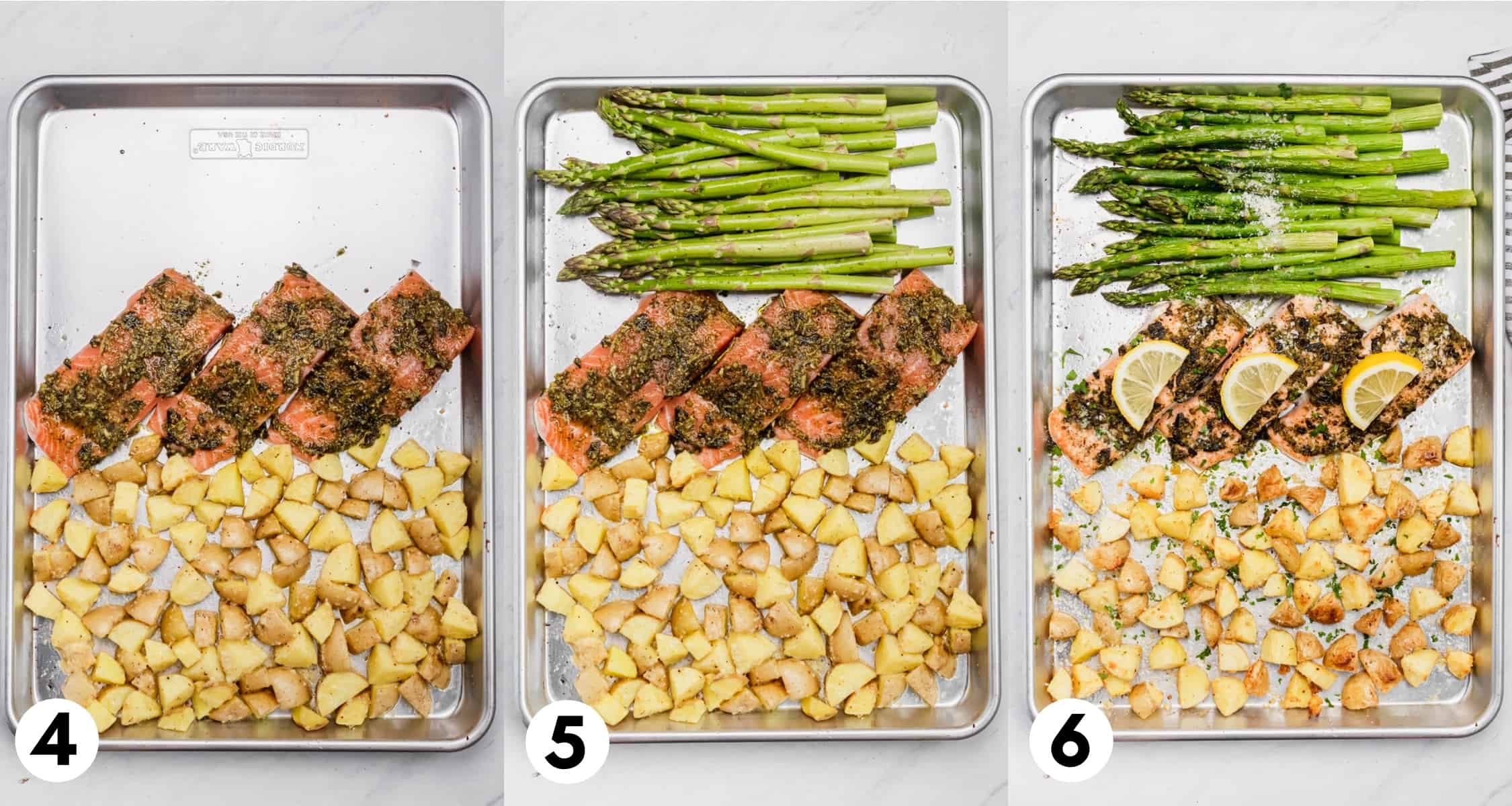 Salmon and potatoes on sheet pan with asparagus.