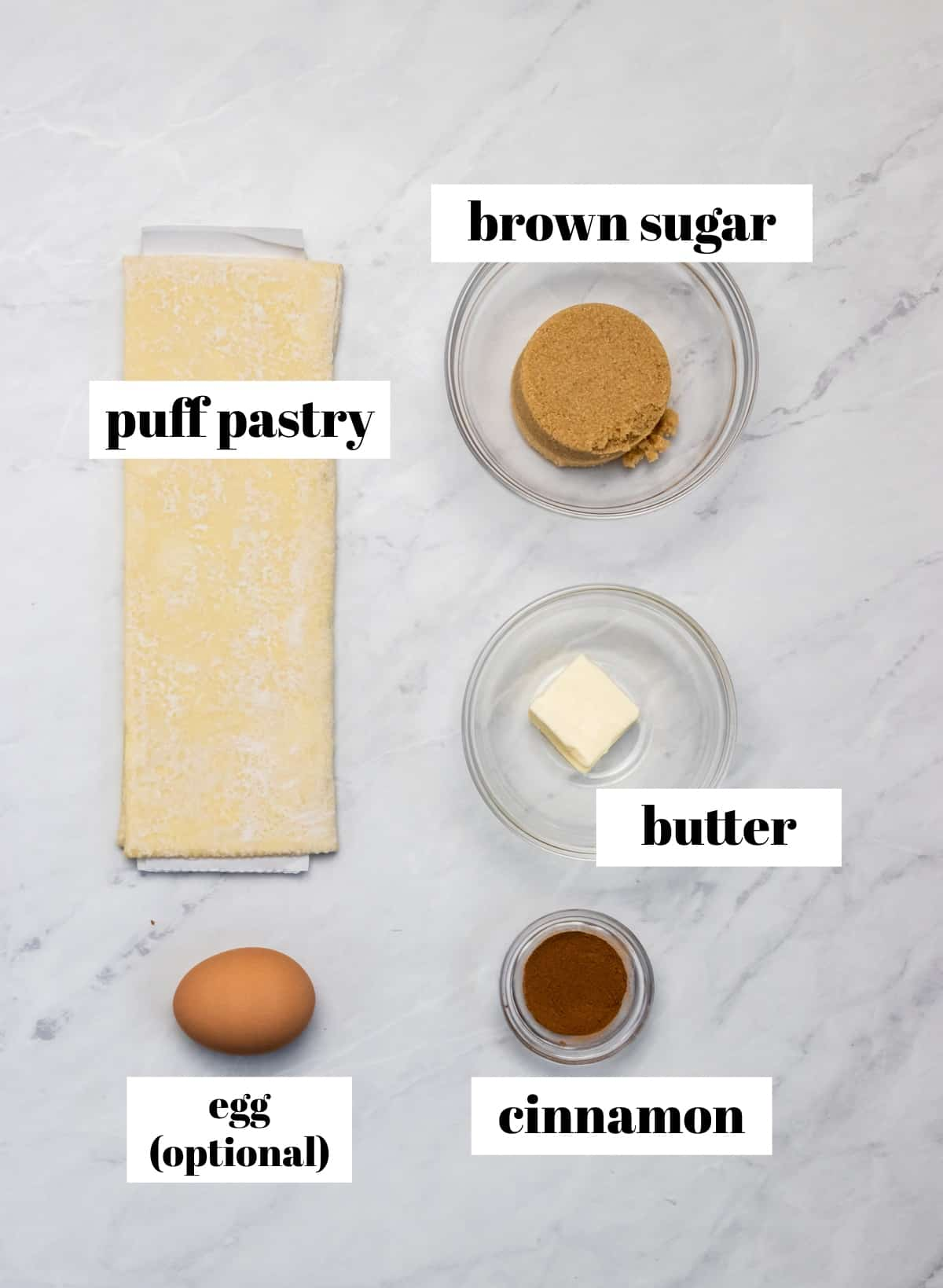 Brown sugar, butter and ingredients labeled on counter.