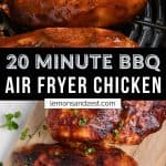 BBQ chicken in air fryer basket and then on cutting board.