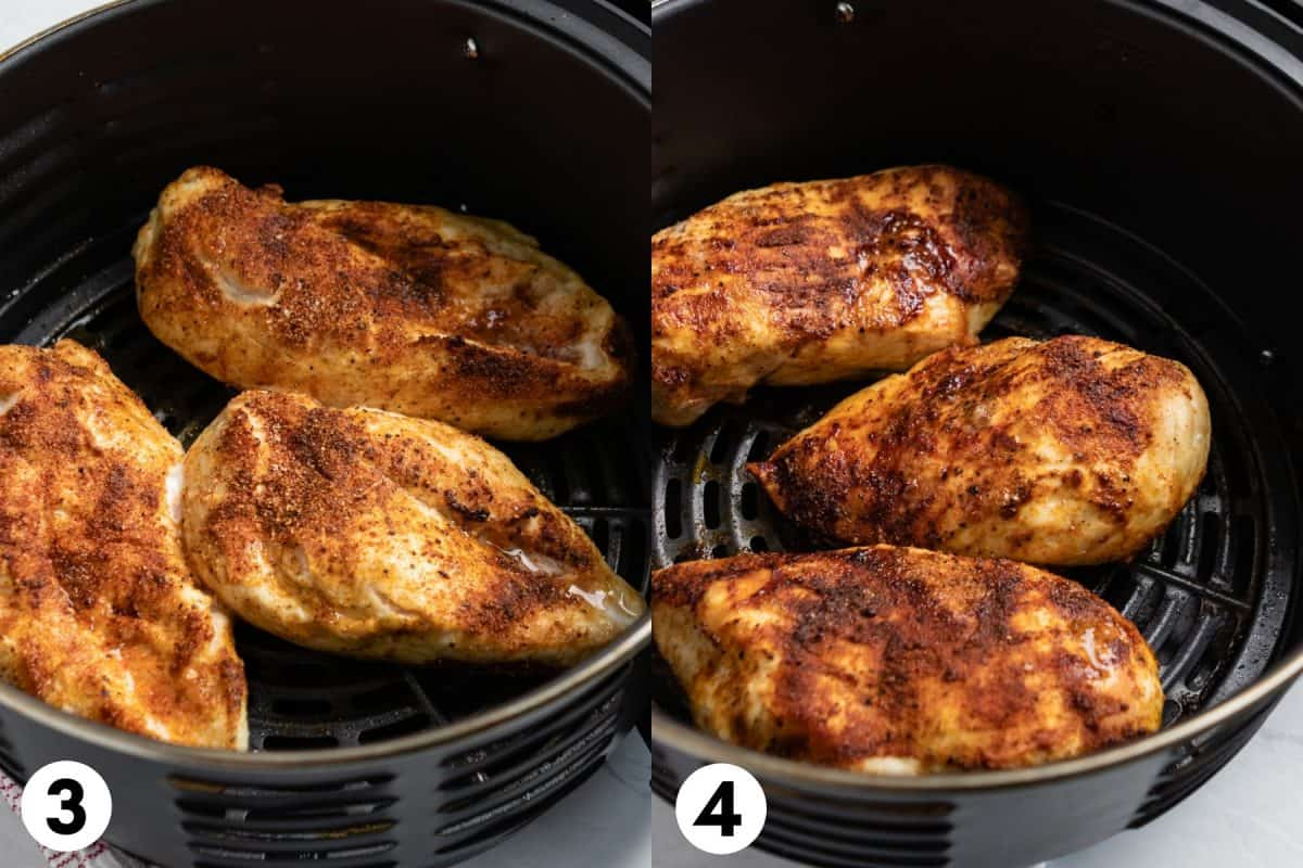 Cooked chicken breast with seasoning in air fryer basket.