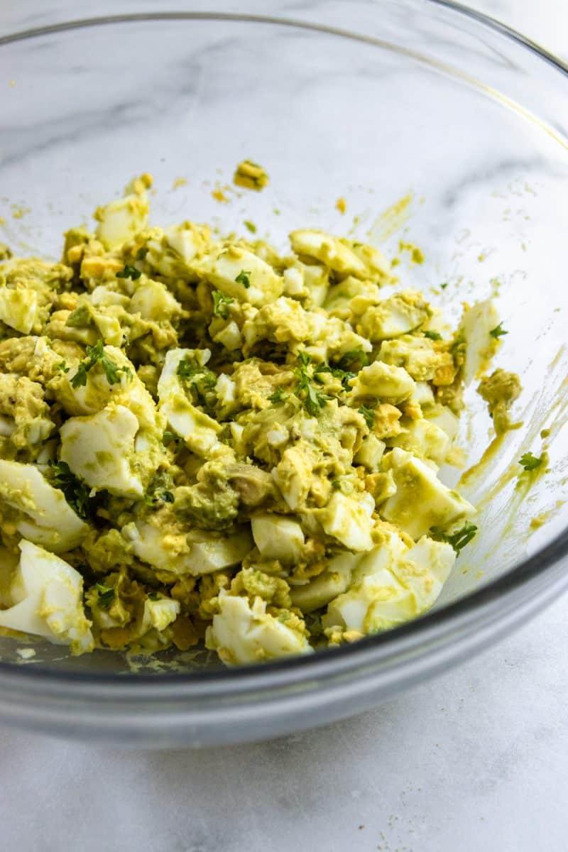Avocado egg salad in bowl.