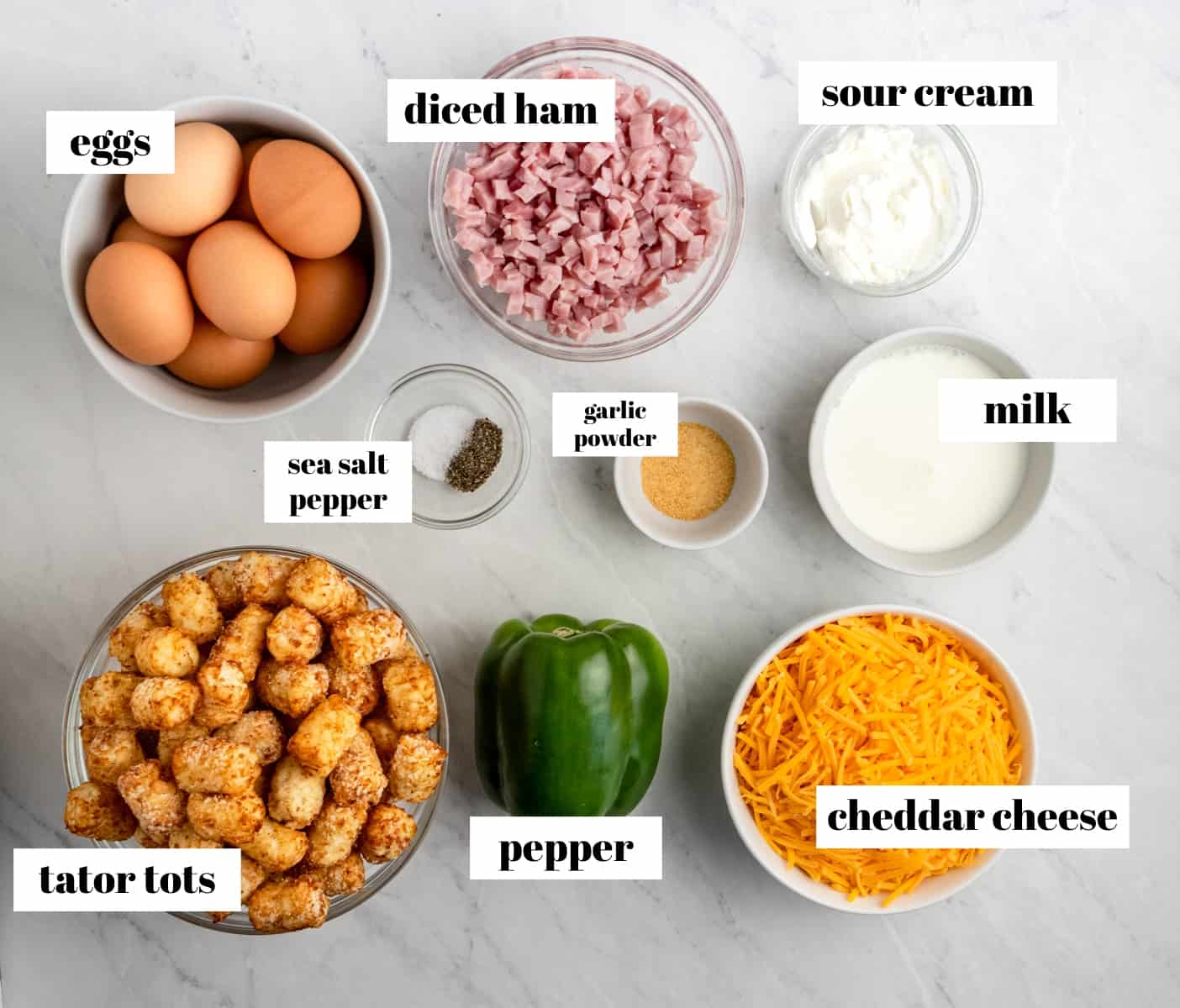 Eggs, ham, pepper, milk and other ingredients labeled on counter.