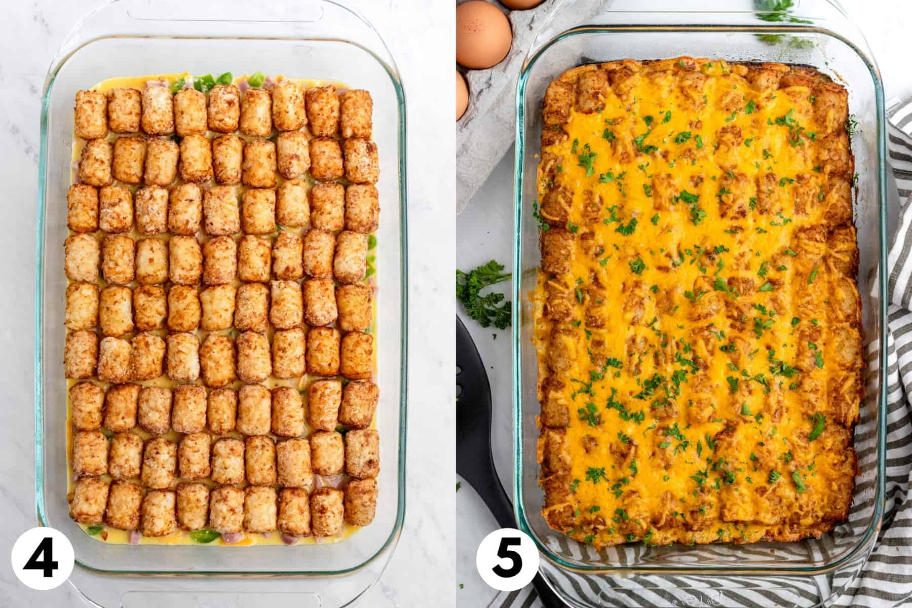 Tator tots lined up in 9x13 inch pan and then baked with cheese on top.