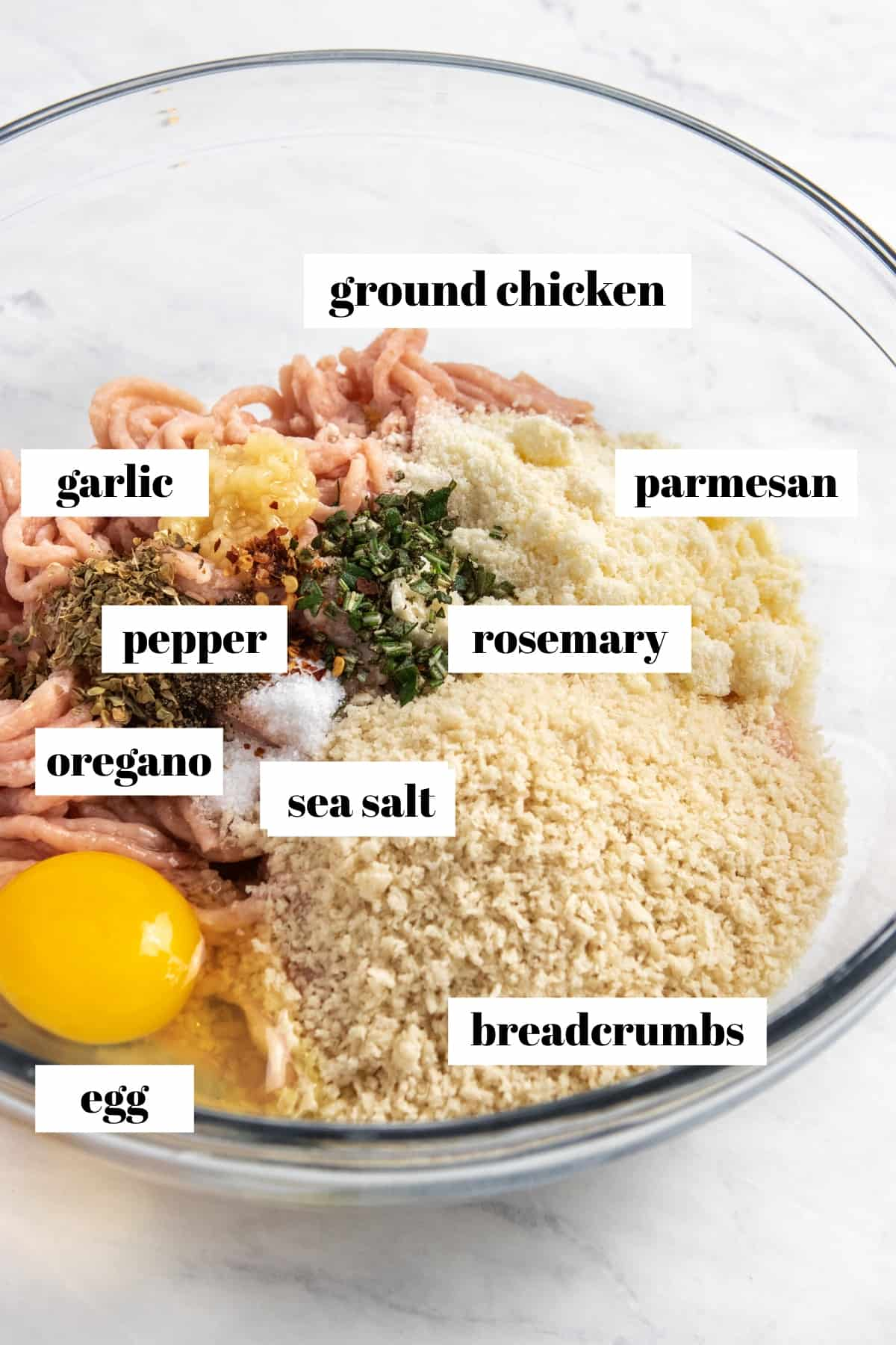 Ground chicken, egg, parmesan, bread crumbs and other ingredients labeled in mixing bowl.