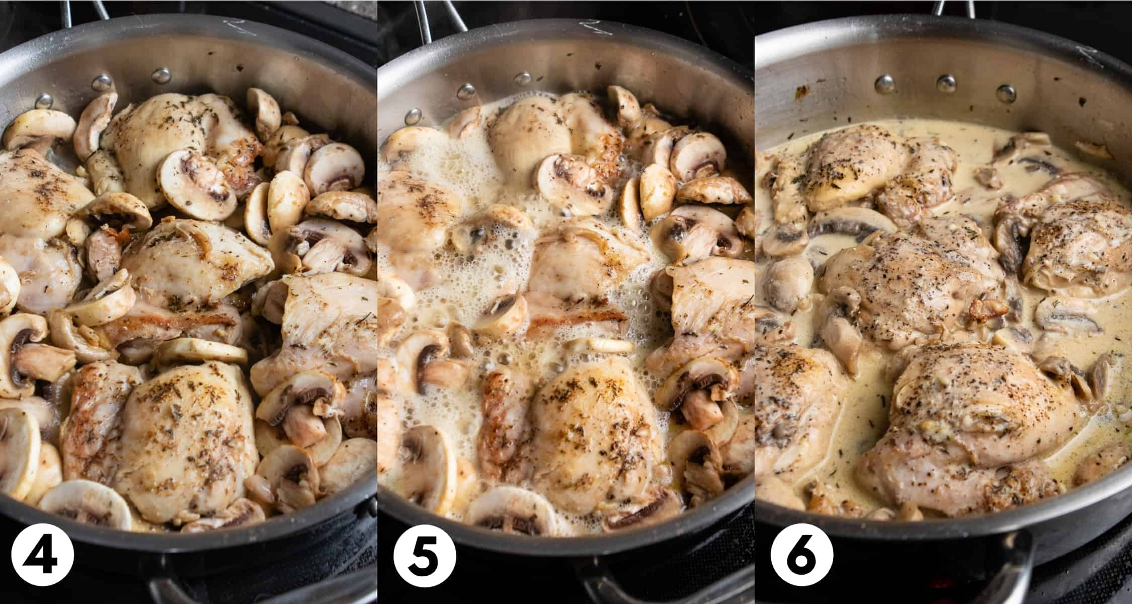 Chicken thighs in skillet with white wine bubbling and then cream added.