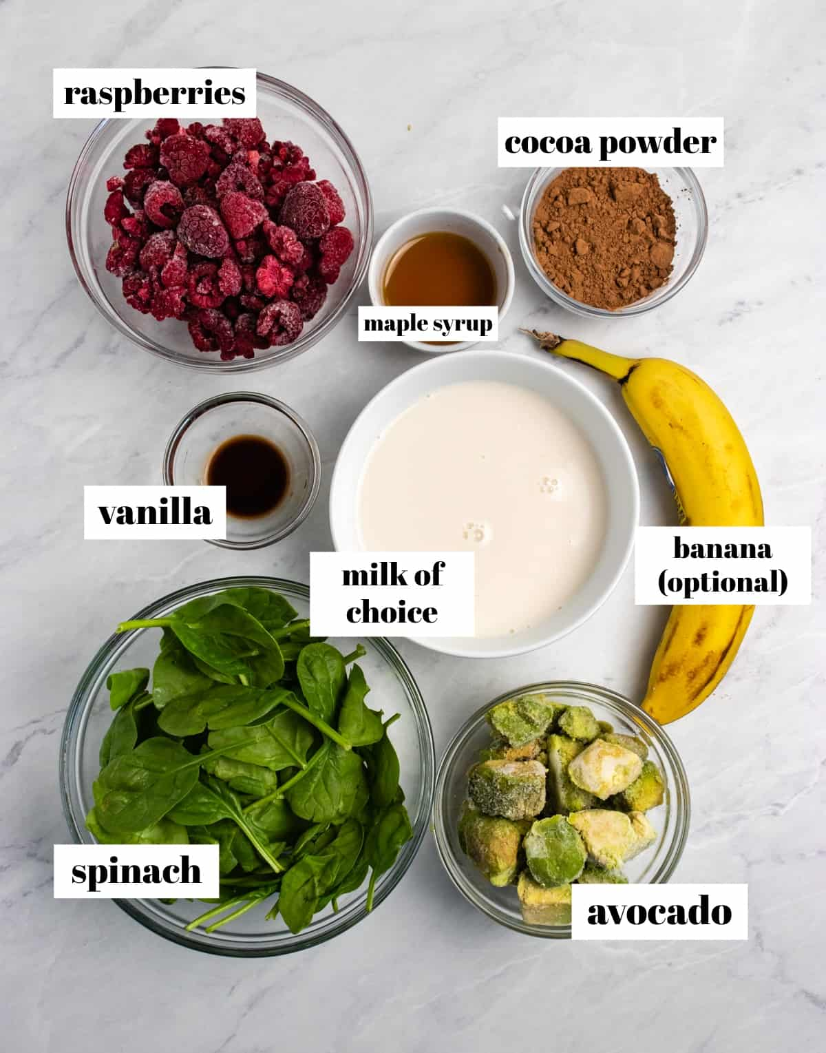 Spinach, cocoa powder, avocado, banana and ingredients labeled on counter.