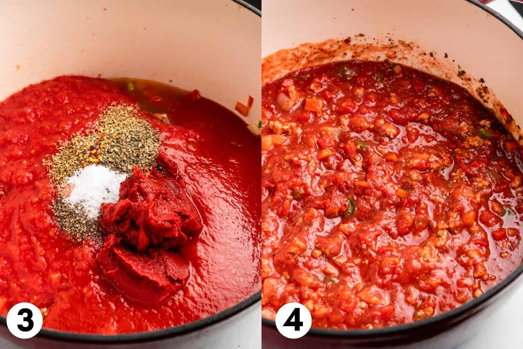 Tomatoes, tomato paste and seasoning added to pot with turkey spaghetti sauce.