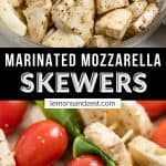 Marinated mozzarella in bowl and then added to skewers with tomato and basil.