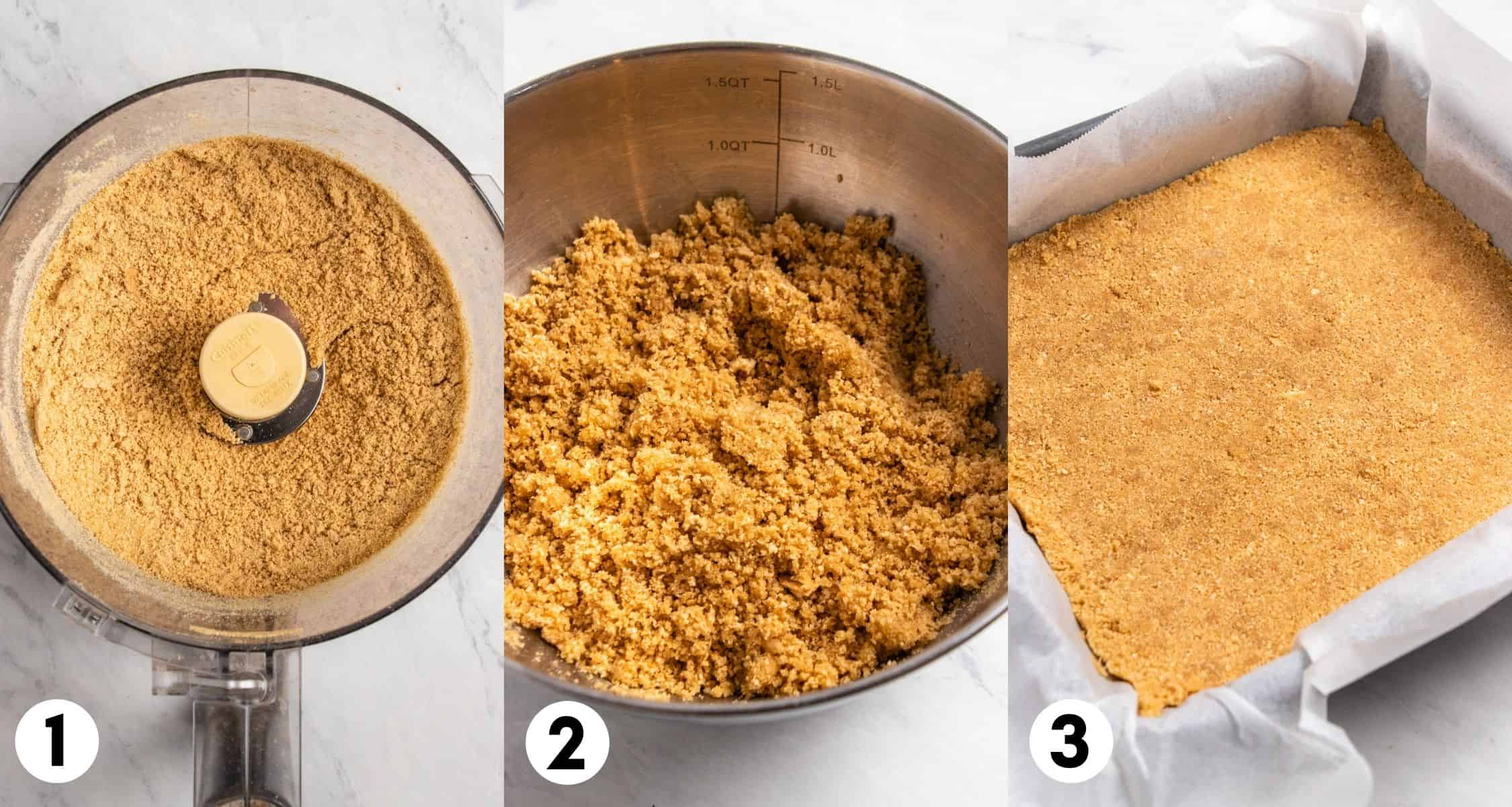 Graham crackers processed in food processor and then in bowl with butter. Last image shows crust pressed into pan.