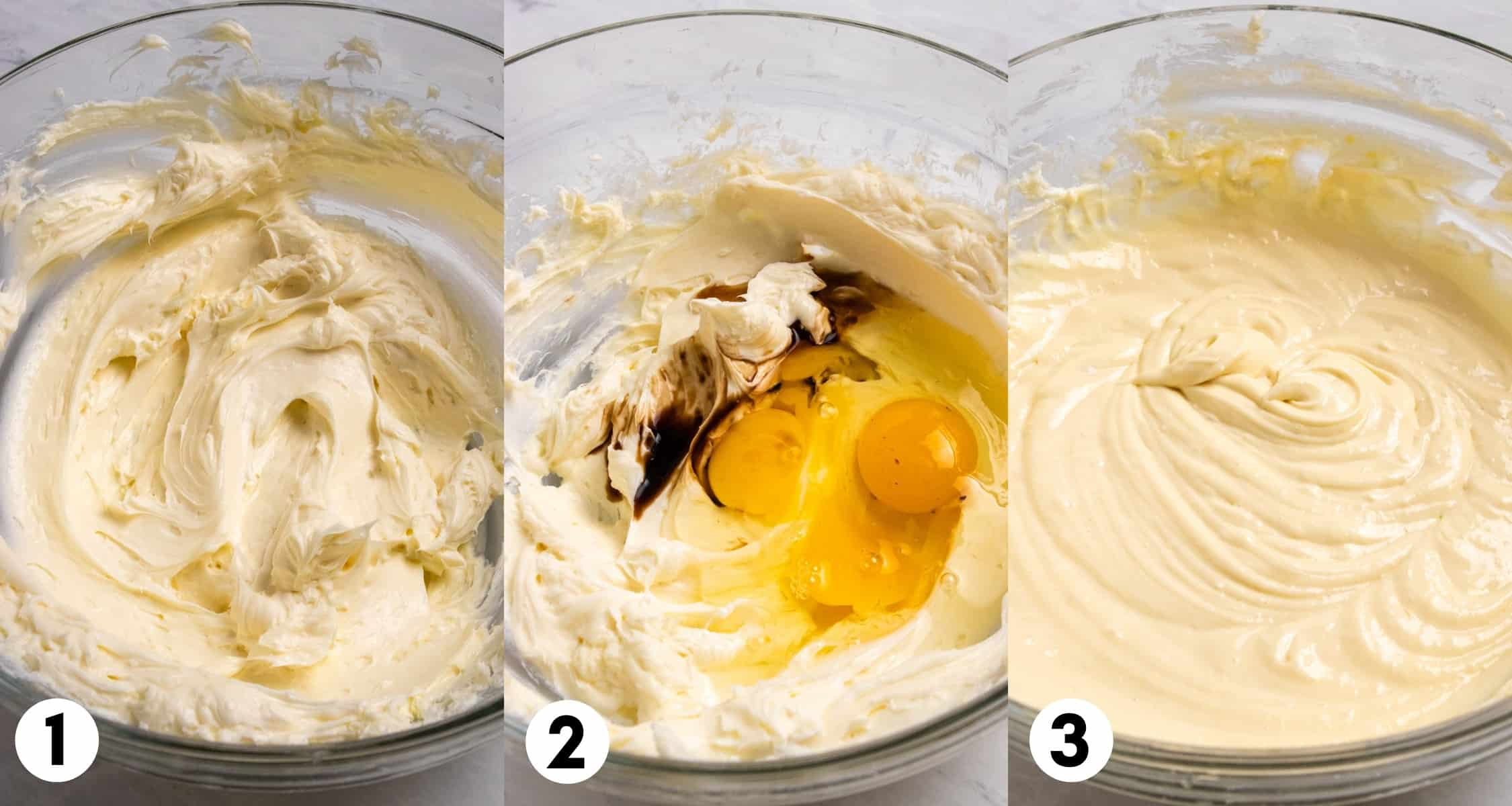 Cream cheese and other cheesecake ingredients in mixing bowl.