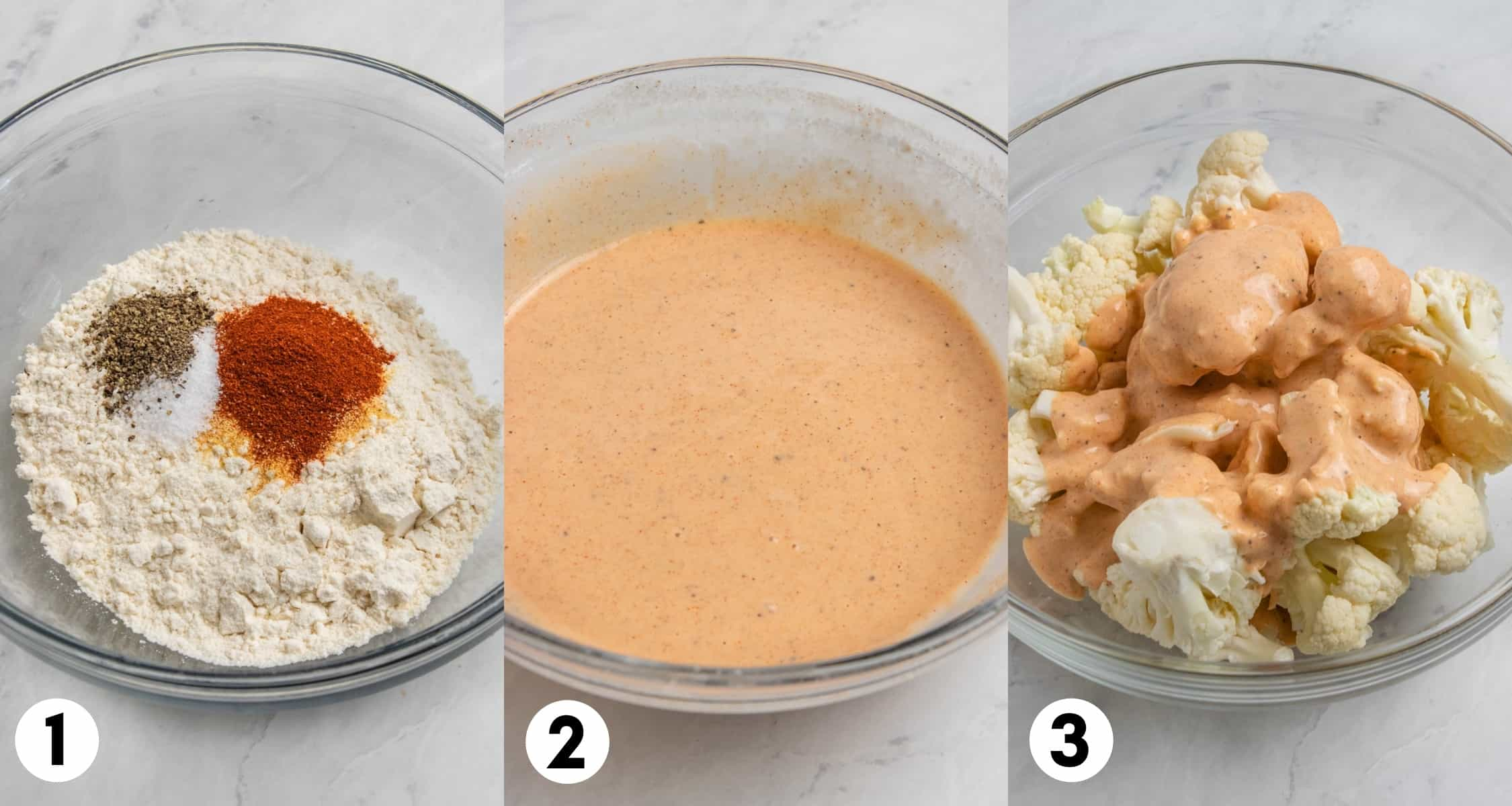 Flour and spices in bowl and then mixed with milk and poured on cauliflower.