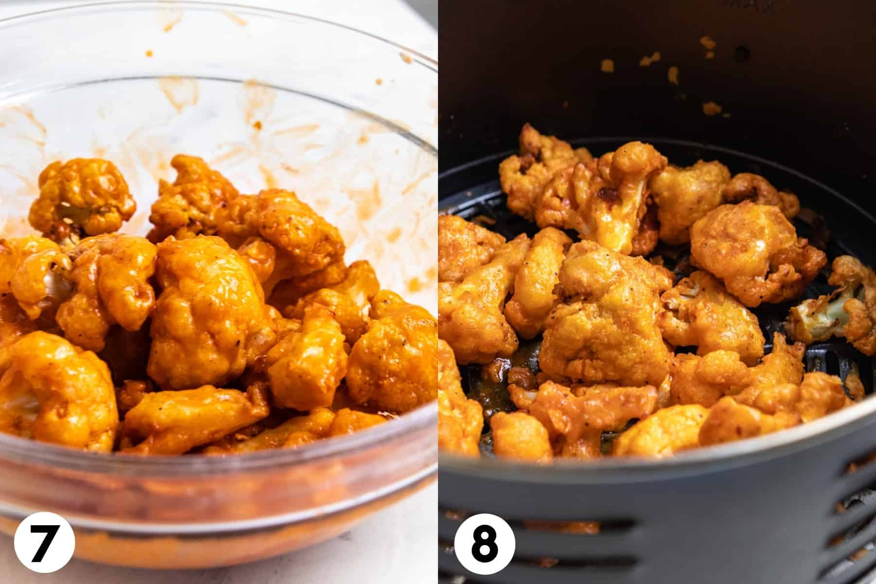 Buffalo sauce tossed with cauliflower and then added to air fryer.