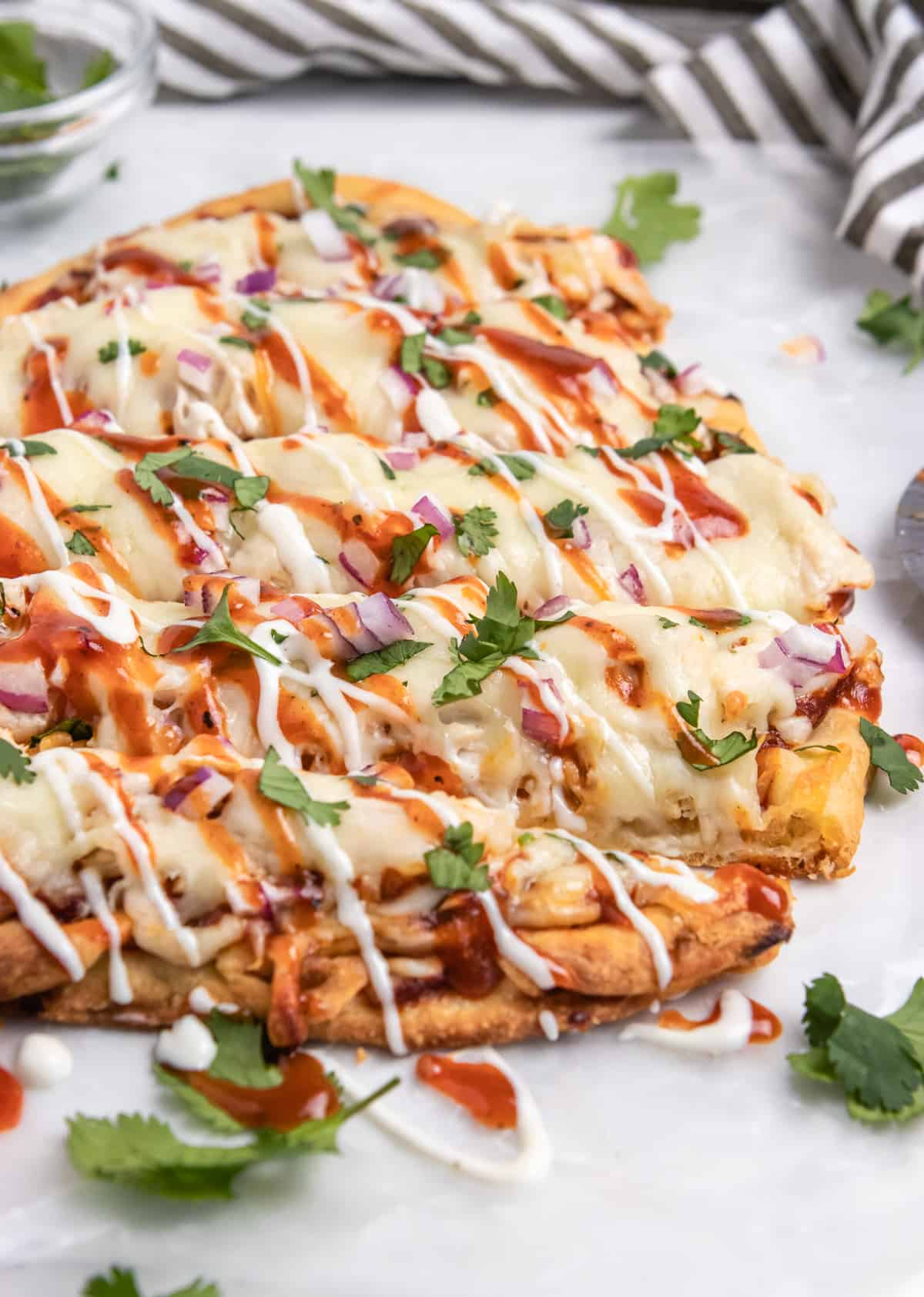 BBQ chicken flatbread with cilantro