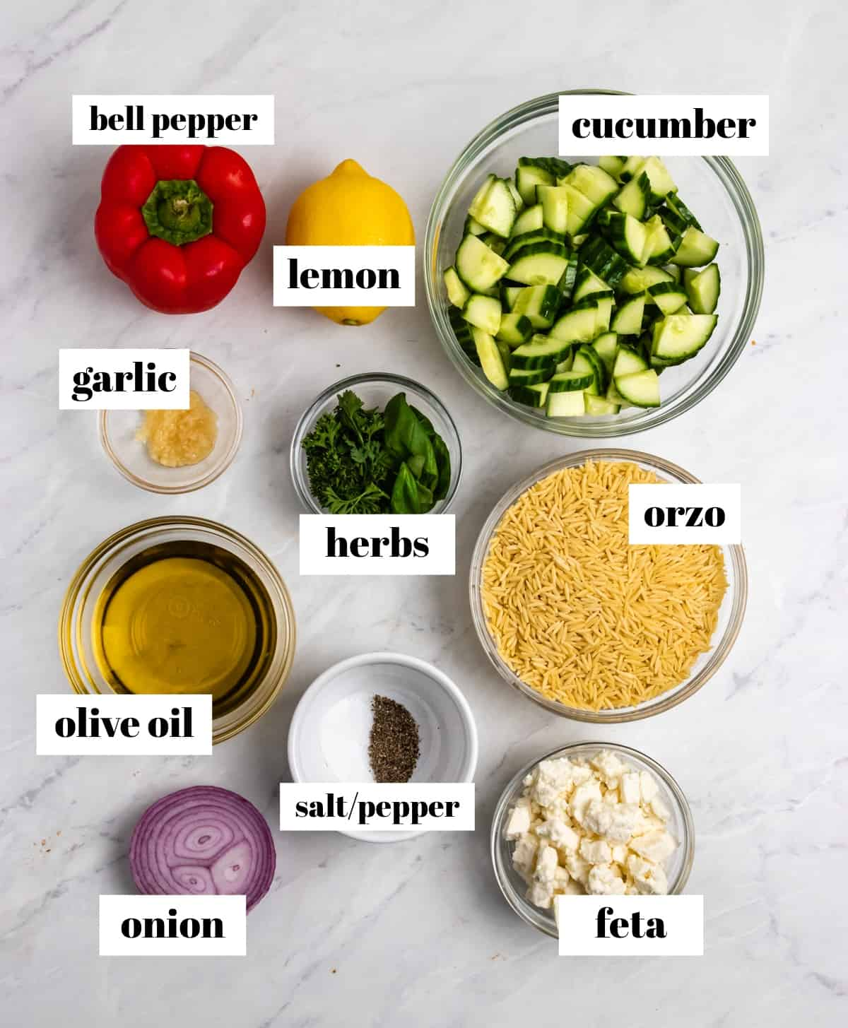 Cucumber, pepper, orzo, lemon, onion and other ingredients labeled on counter.