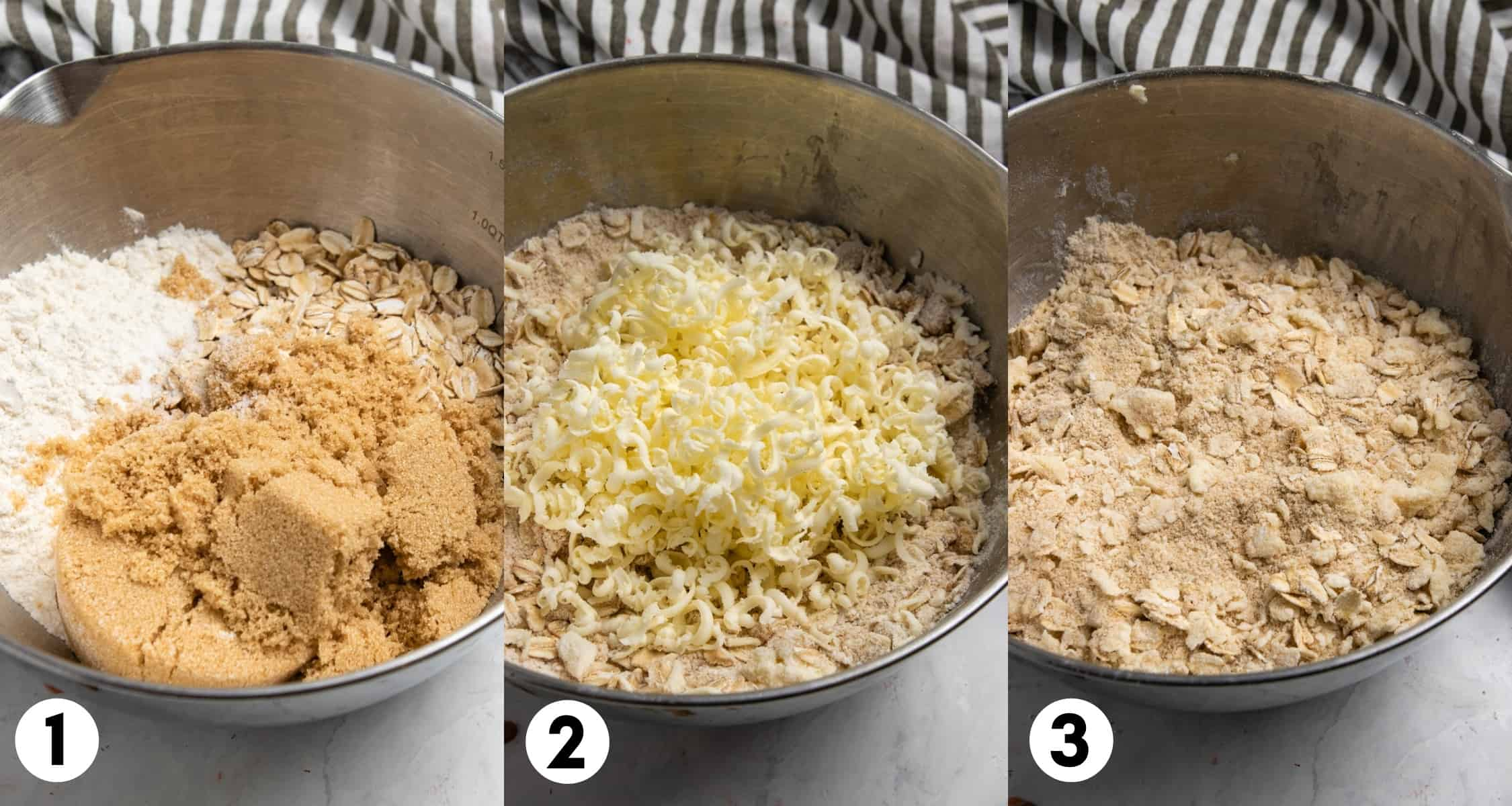 Oats and crumble topping mixed with butter in mixing bowl.