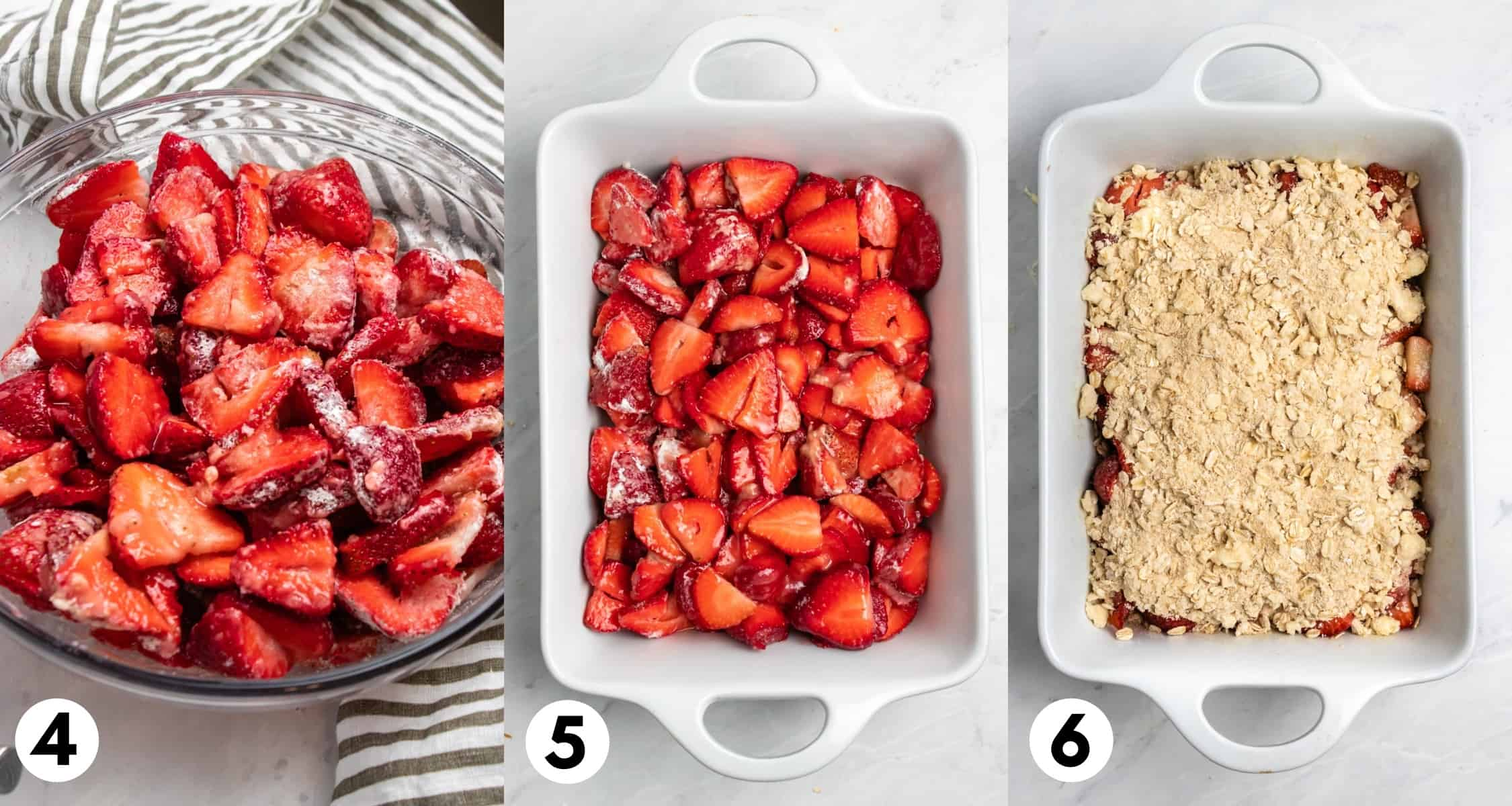 Strawberries with sugar and corn starch in bowl and then in casserole dish and then with crumble topping on top.