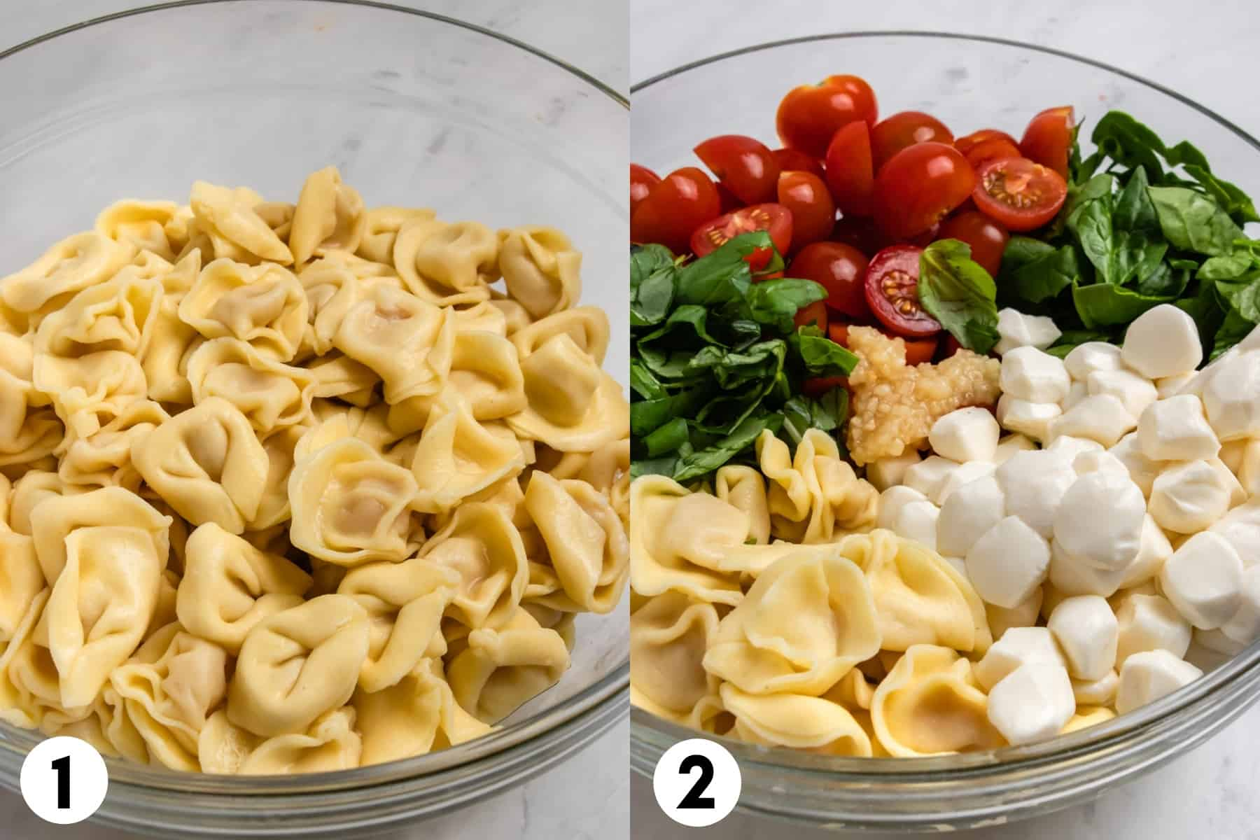 Pasta in mixing bowl and then a second image with pasta, cheese, basil, spinach and other ingredients.