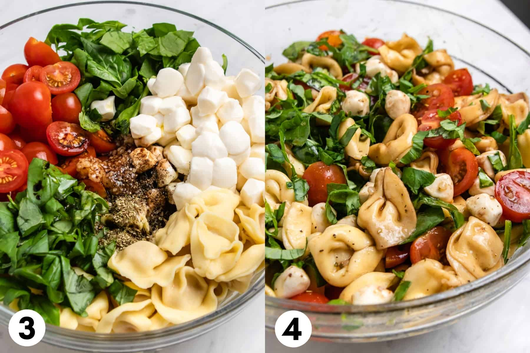 Pasta salad ingredients in glass bowl before tossed in first image and after tossed in second image.