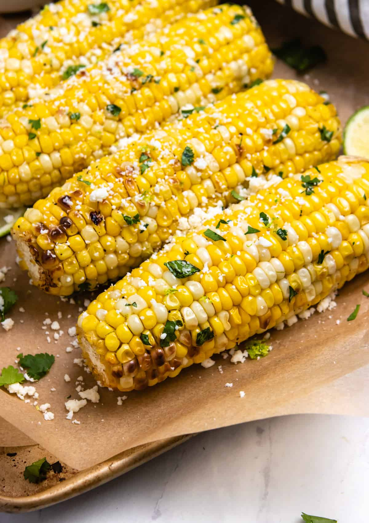 Air fried corn with butter and cilantro.