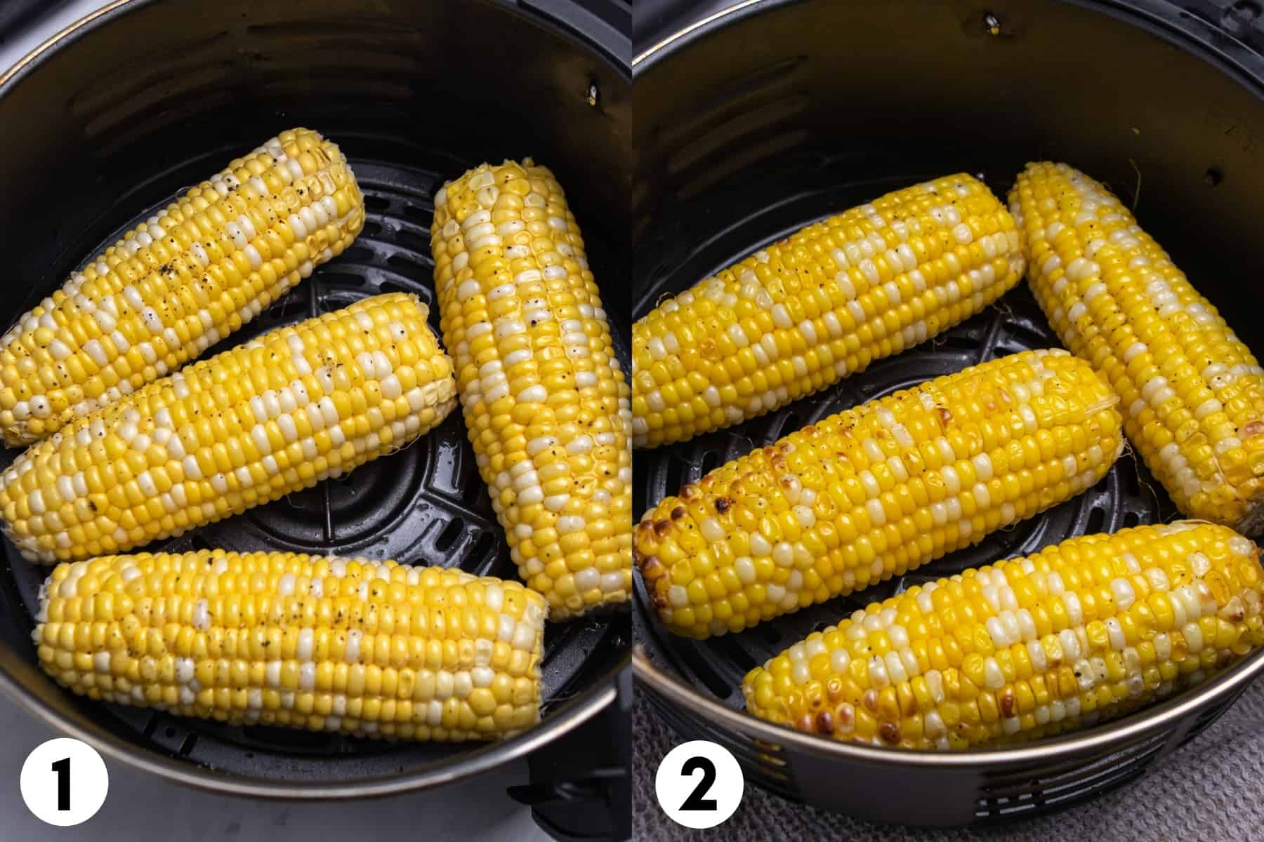 Corn in air fryer basket before and then after air frying.
