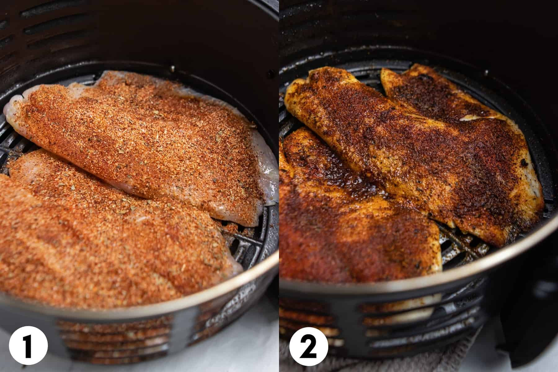 Tilapia in air fryer with spices before and then after air fried.