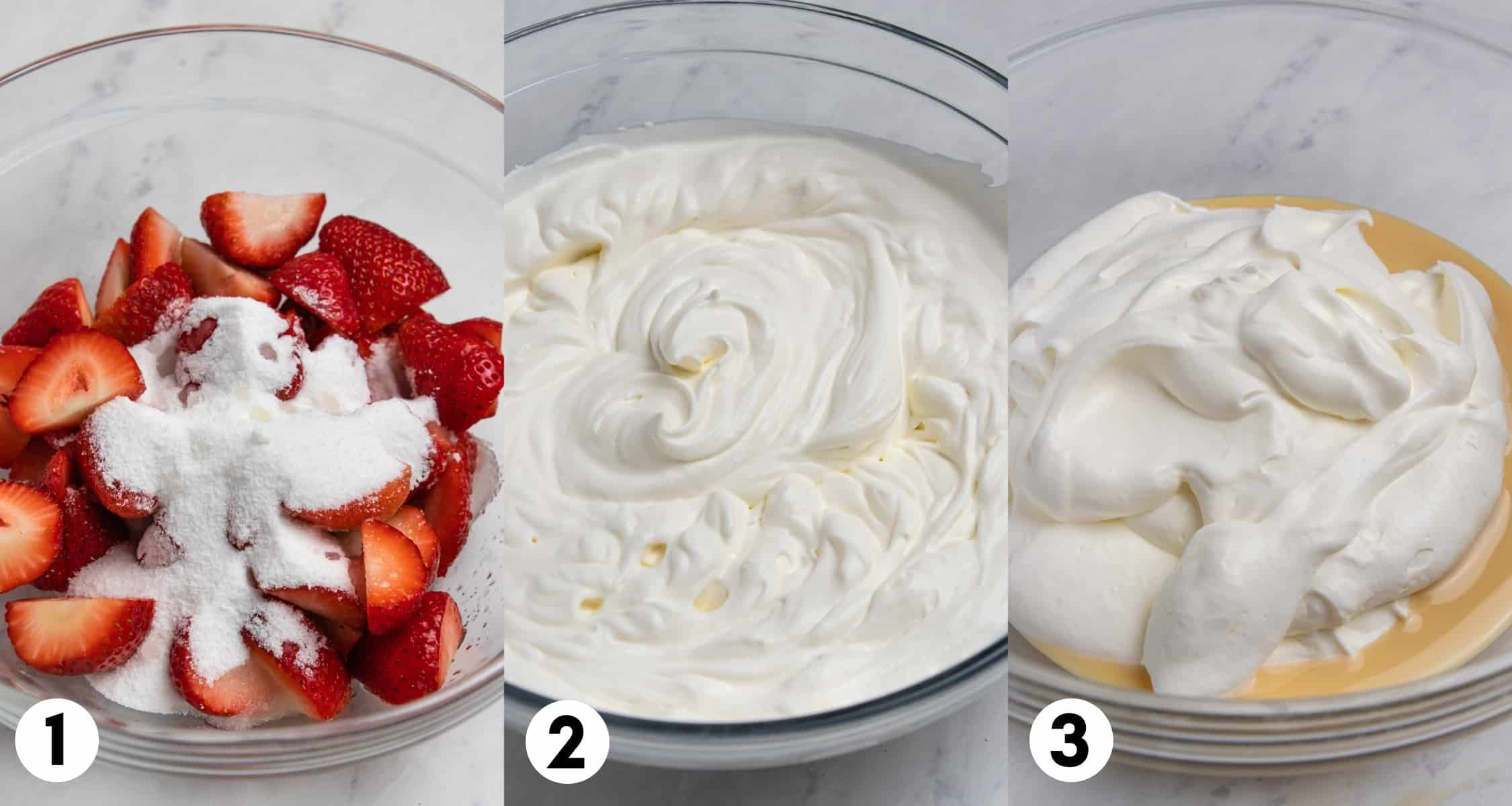 Strawberries on bowl with sugar, whipped cream in a next bowl and then added to condensed milk.