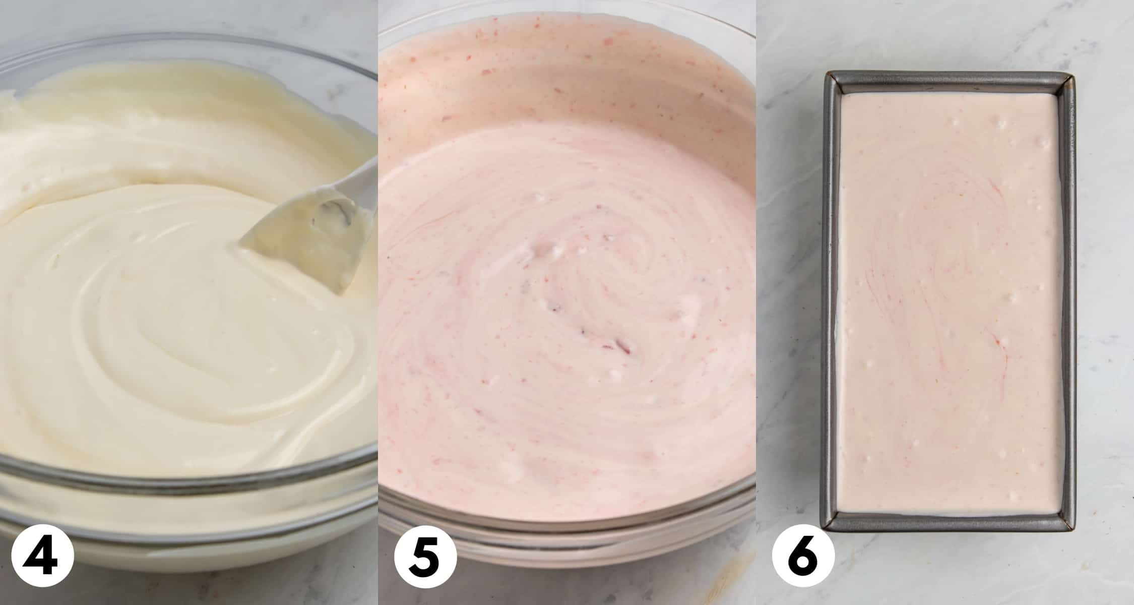 Ice cream mixture in bowl and then added to bread pan.