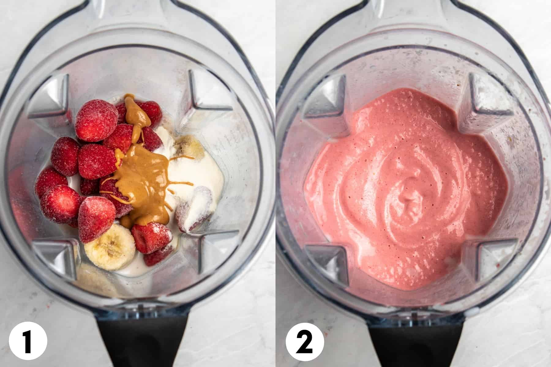 Smoothie ingredients in blender before blended and after.