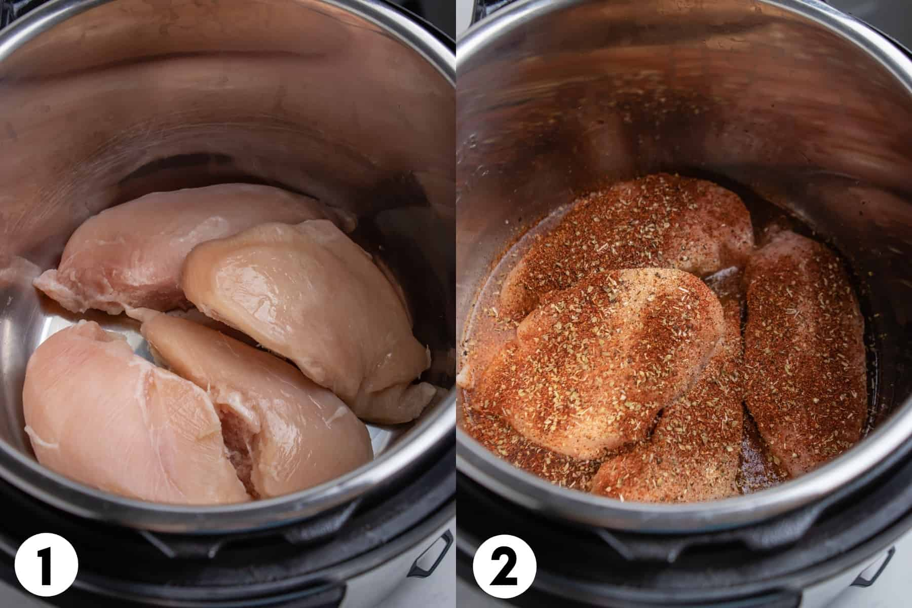 Frozen chicken in Instant pot and then with seasonings on top.