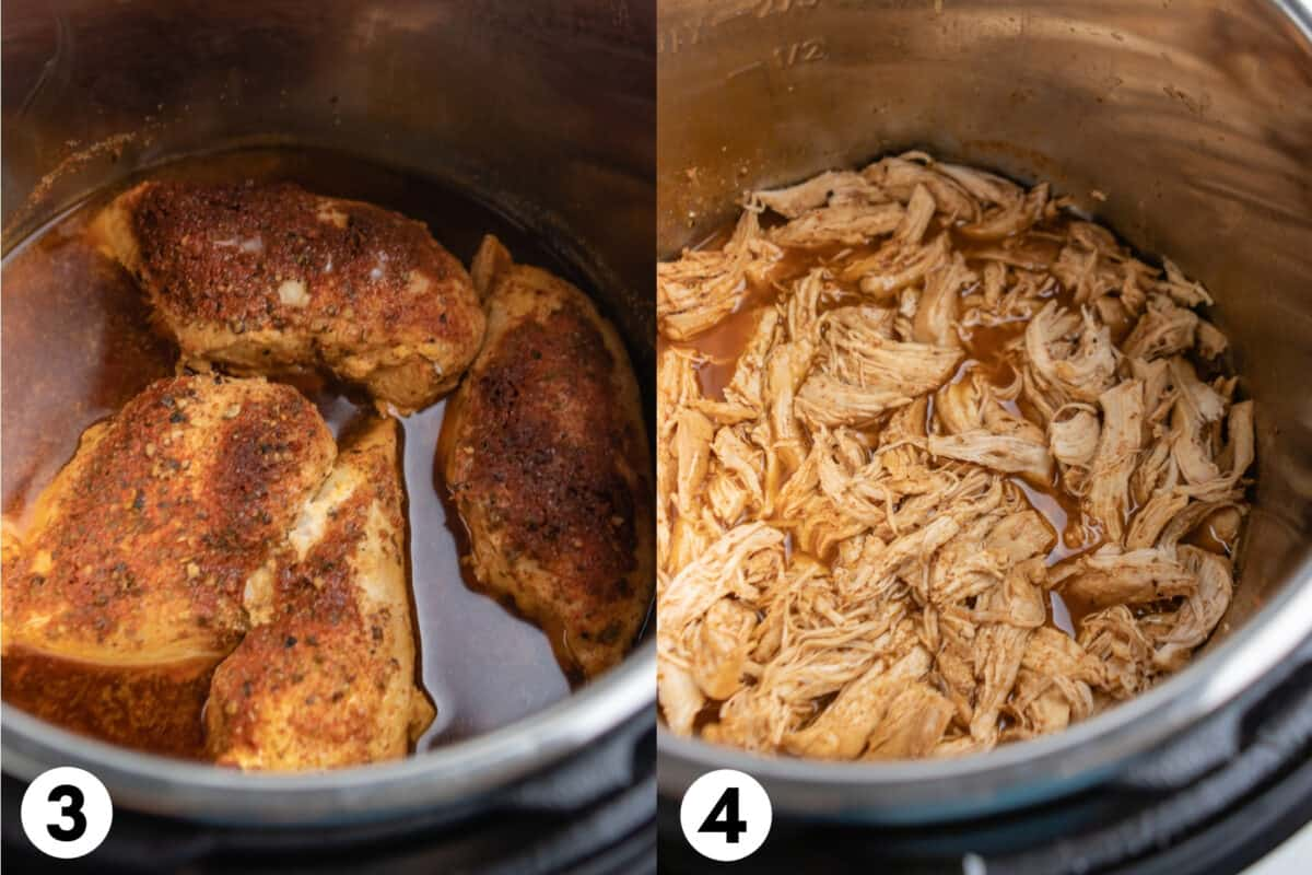 Chicken cooked in the Instant Pot and then shredded in juices.