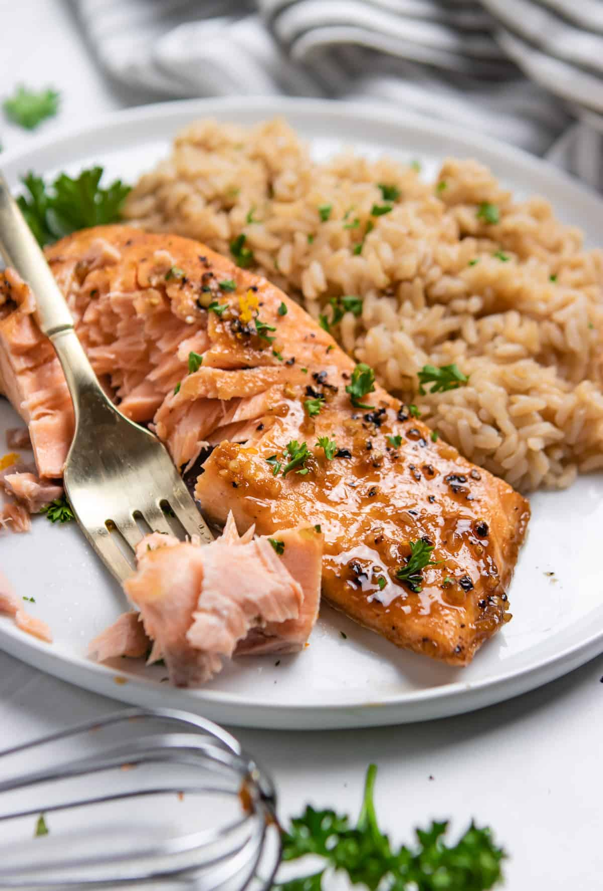 Salmon on plate with flaked salmon on fork.