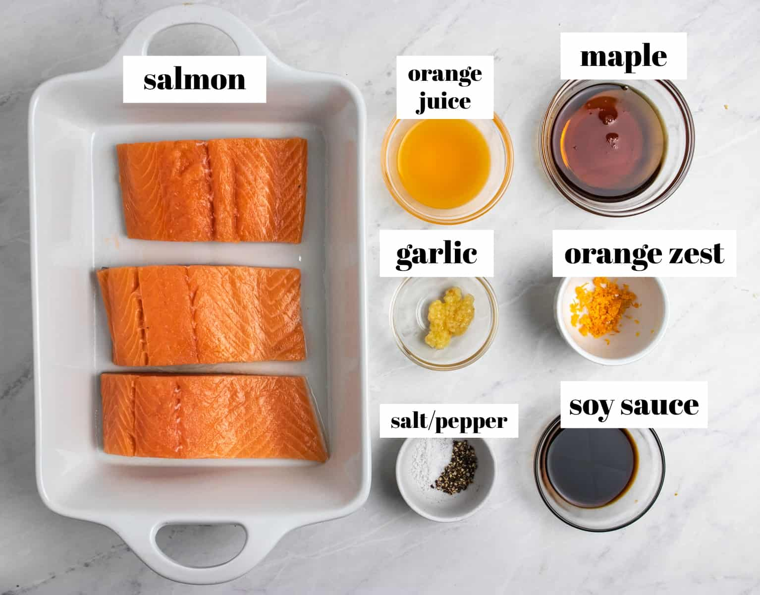 Salmon, maple, soy sauce, garlic and other ingredients labeled on counter.