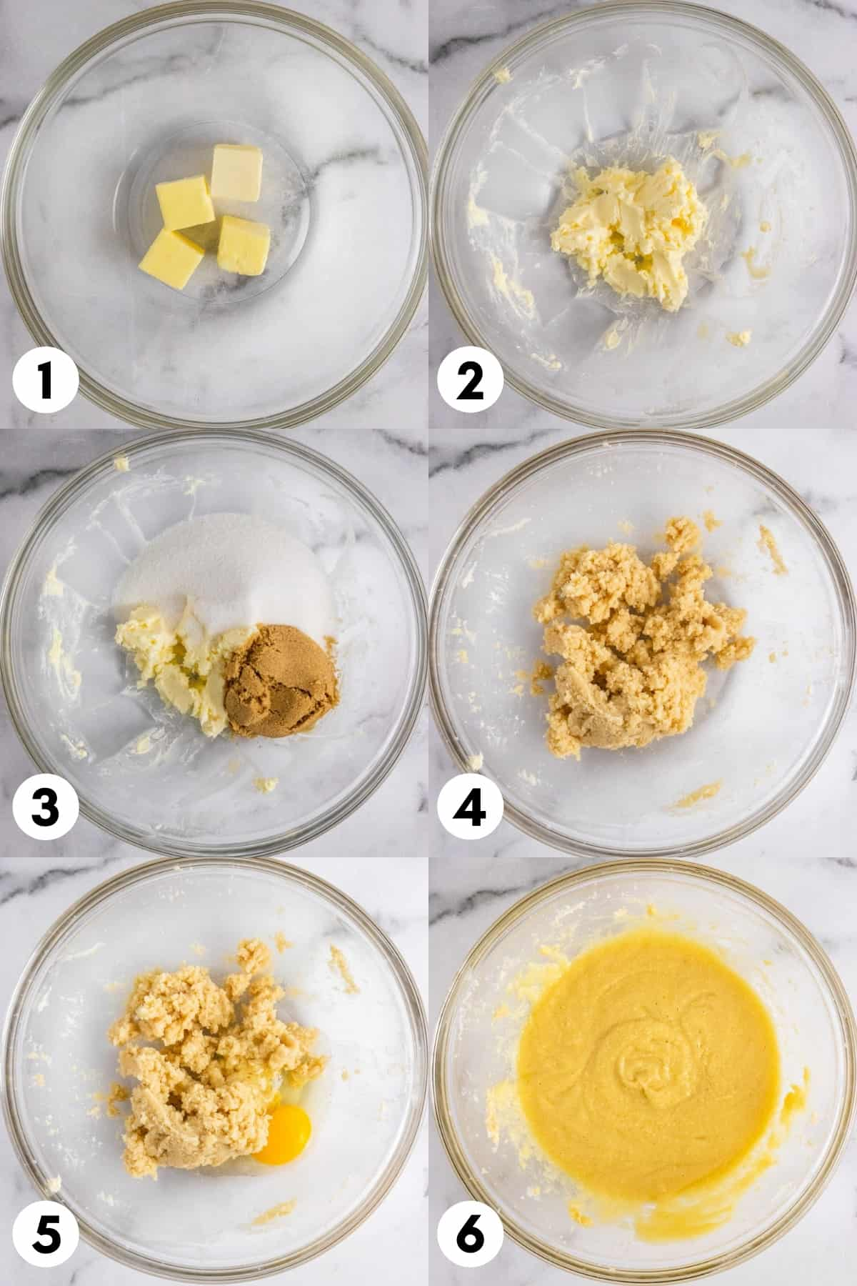 Butter, sugar, eggs and ingredients mixed in mixing bowl.