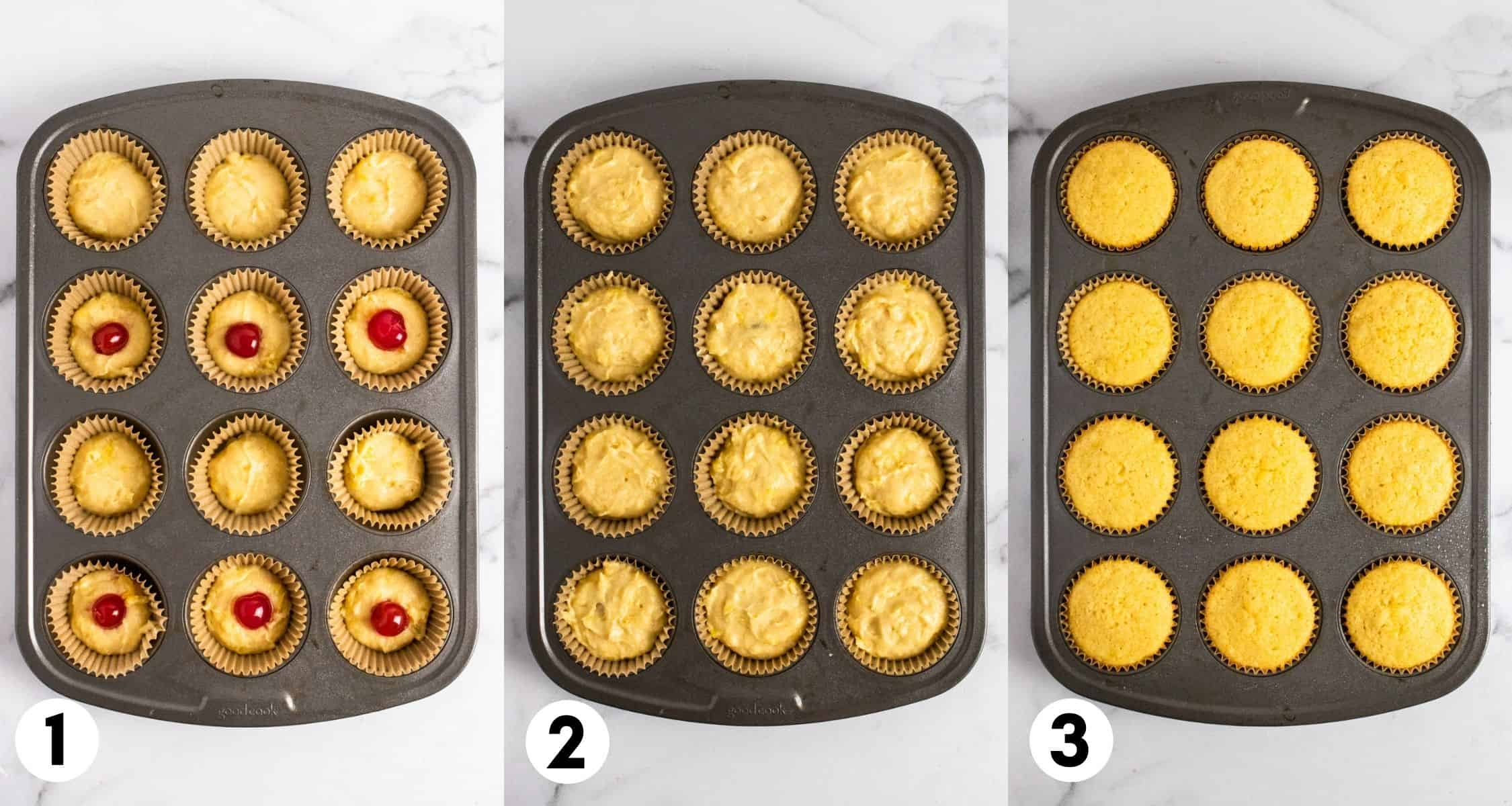Pineapple cupcake batter in muffin tin before and after baked.