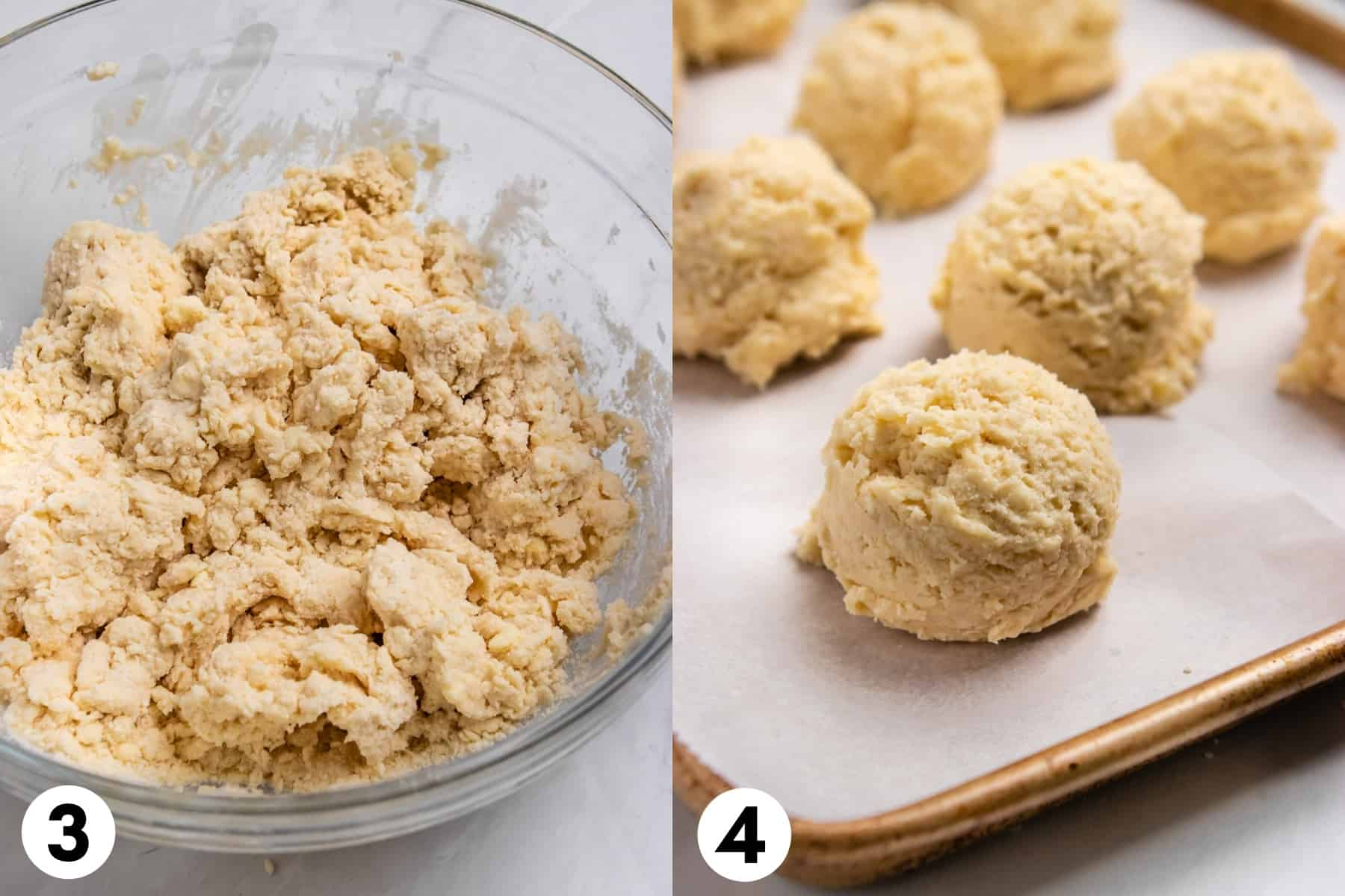 Buttermilk biscuit dough in bowl and then scooped on sheet pan.