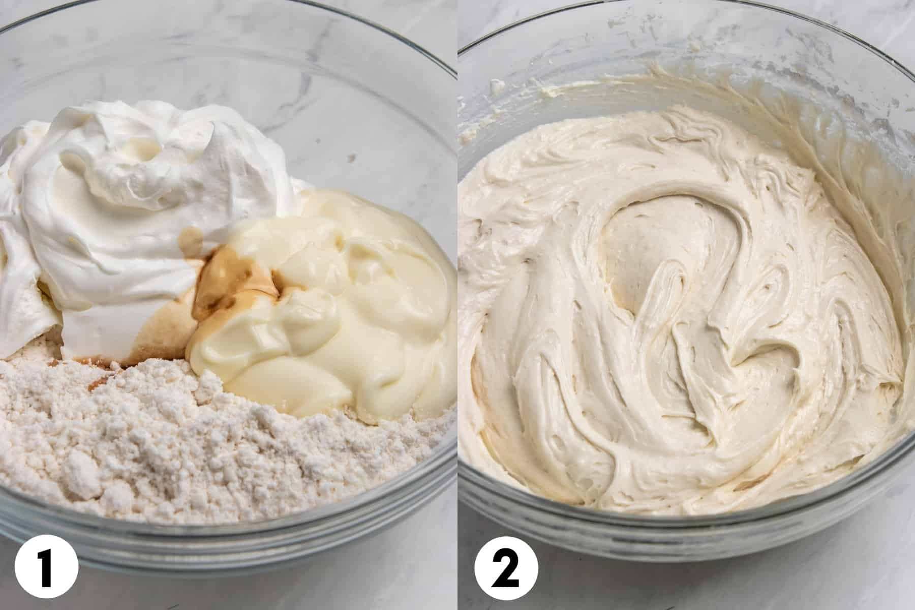 Cake mix and other ingredients in mixing bowl and then after mixed.