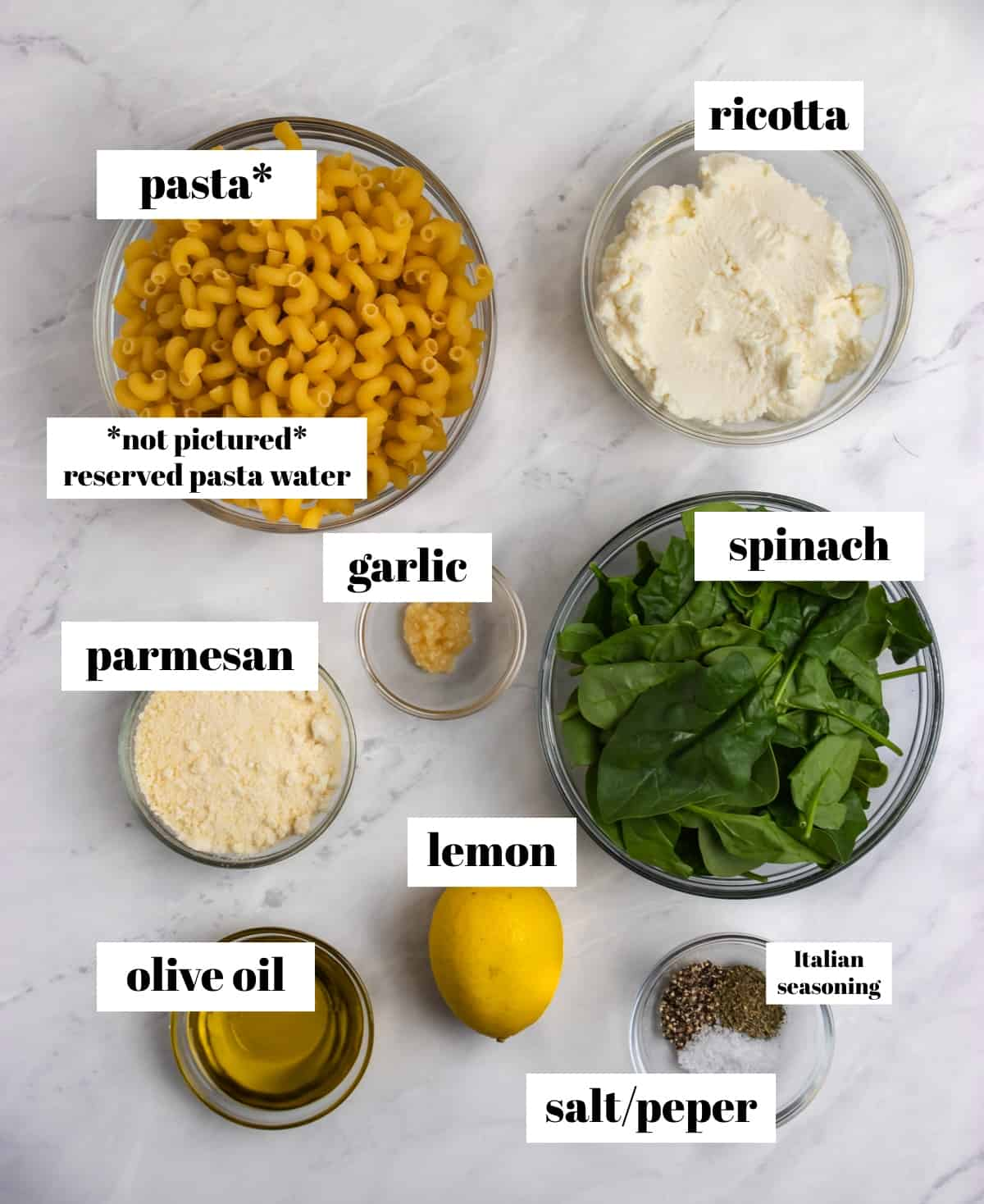Spinach, ricotta, lemon, parmesan and other ingredients labeled on counter.