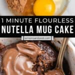 Ingredients for nutella mug cake in bowl and then cooked in mug with spoon.