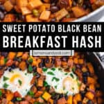 Sweet potato black bean mixture in skillet and then with eggs cooked and cilantro on top.